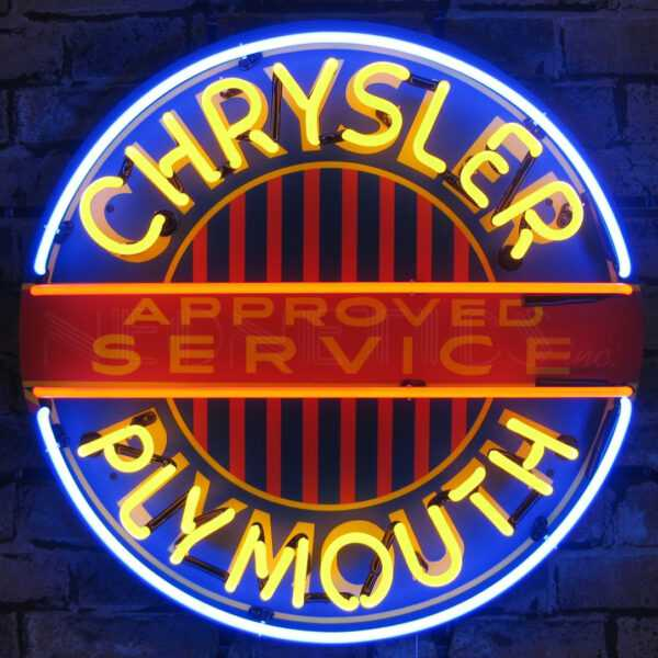 CHRYSLER PLYMOUTH NEON SIGN WITH BACKING