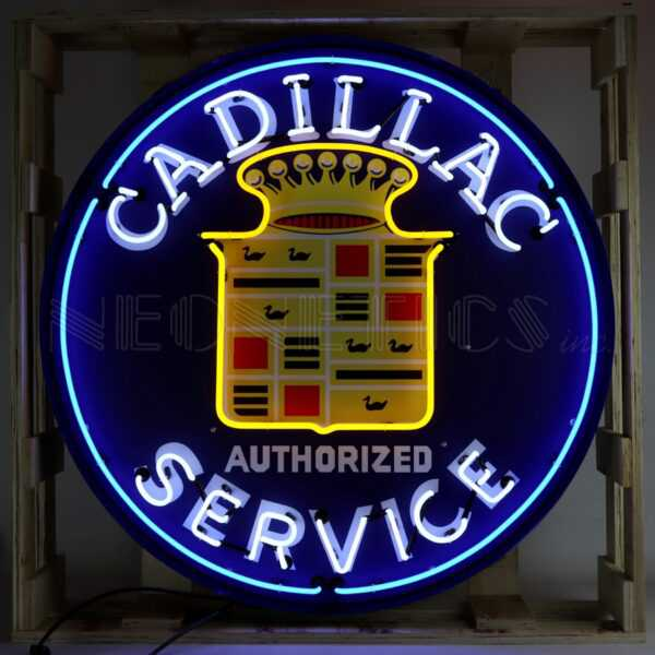 """CADILLAC NEON SIGN IN 36"""" STEEL CAN"""