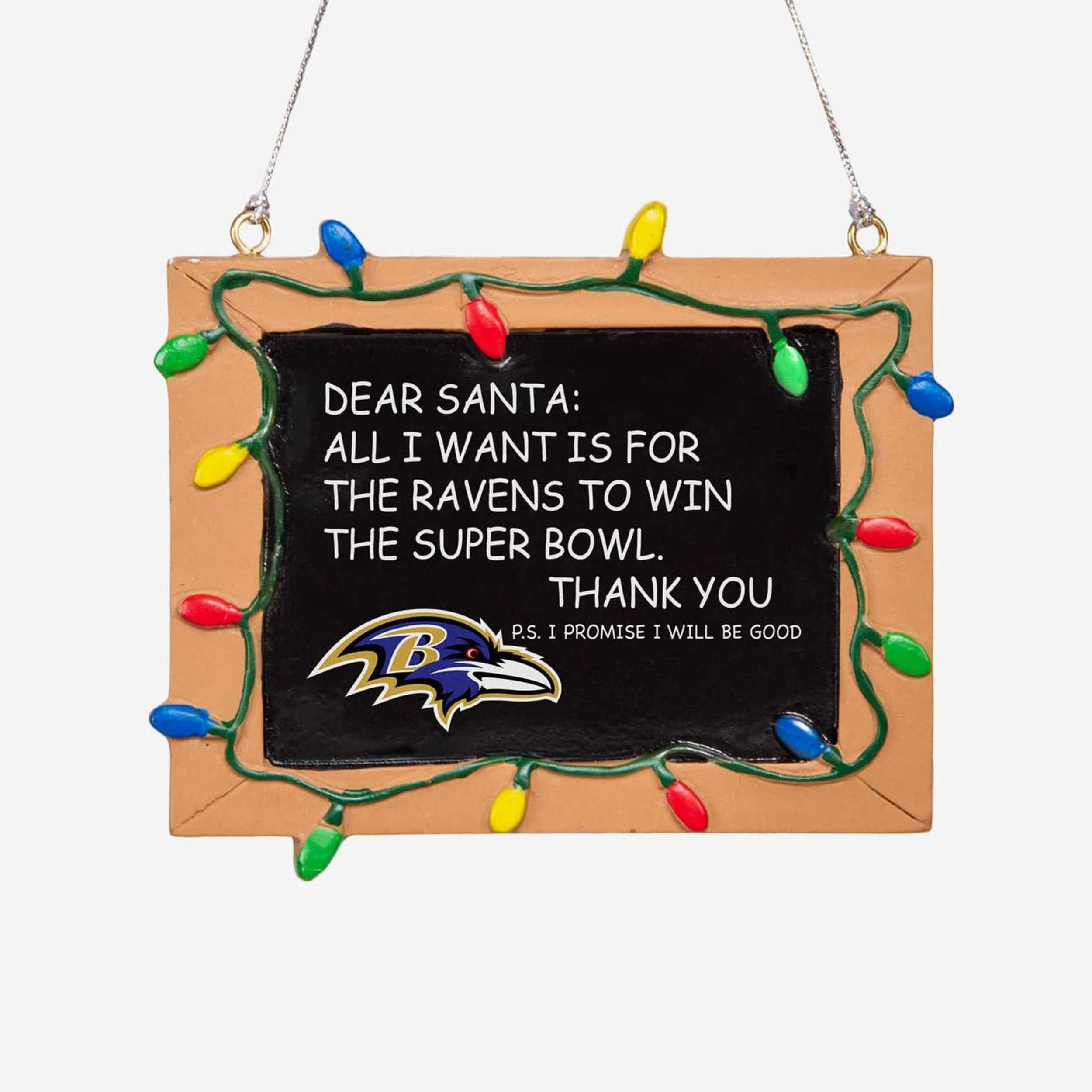 Baltimore Ravens Chalkboard Sign Ornament