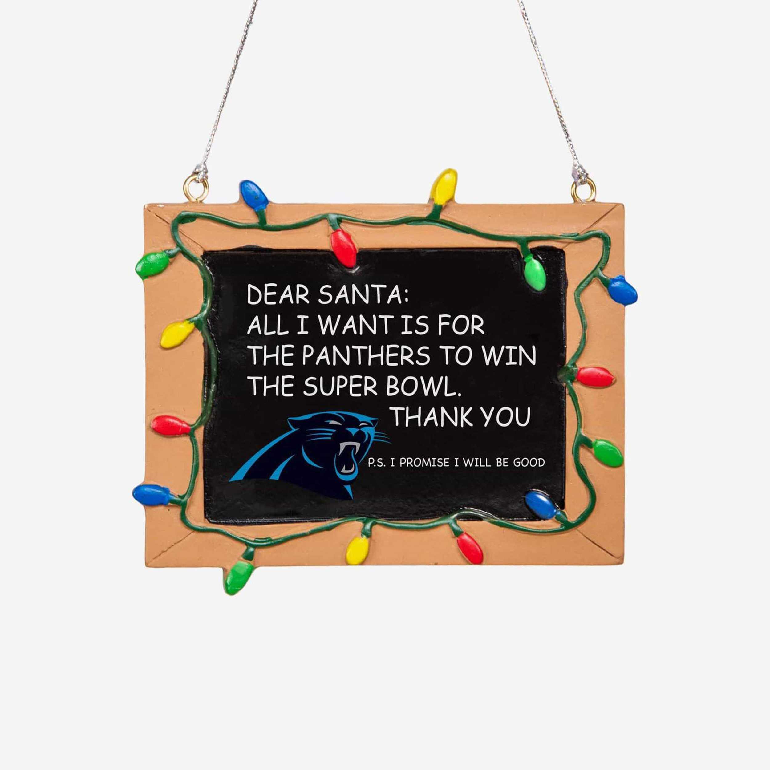 Carolina Panthers Chalkboard Sign Ornament