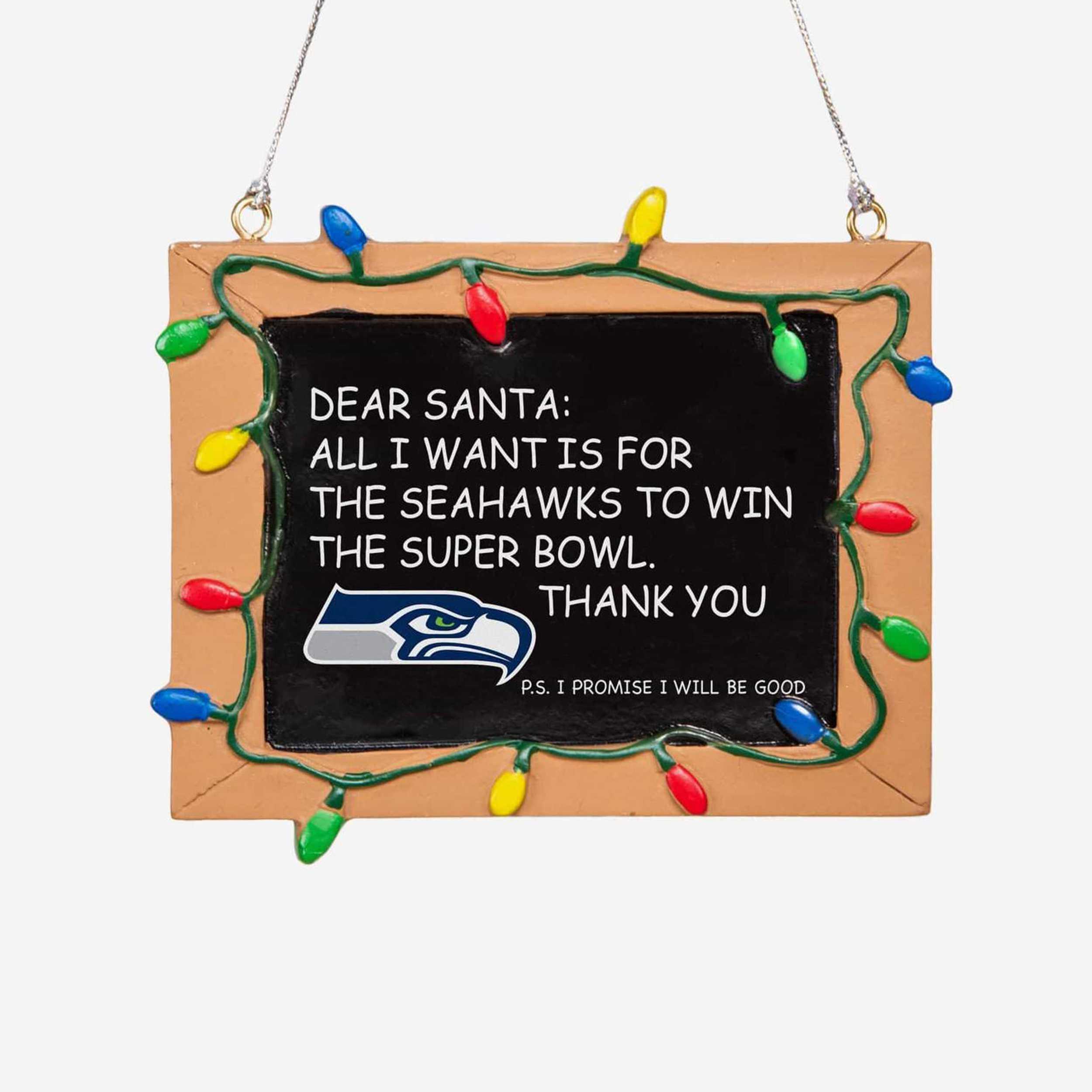 Seattle Seahawks Chalkboard Sign Ornament