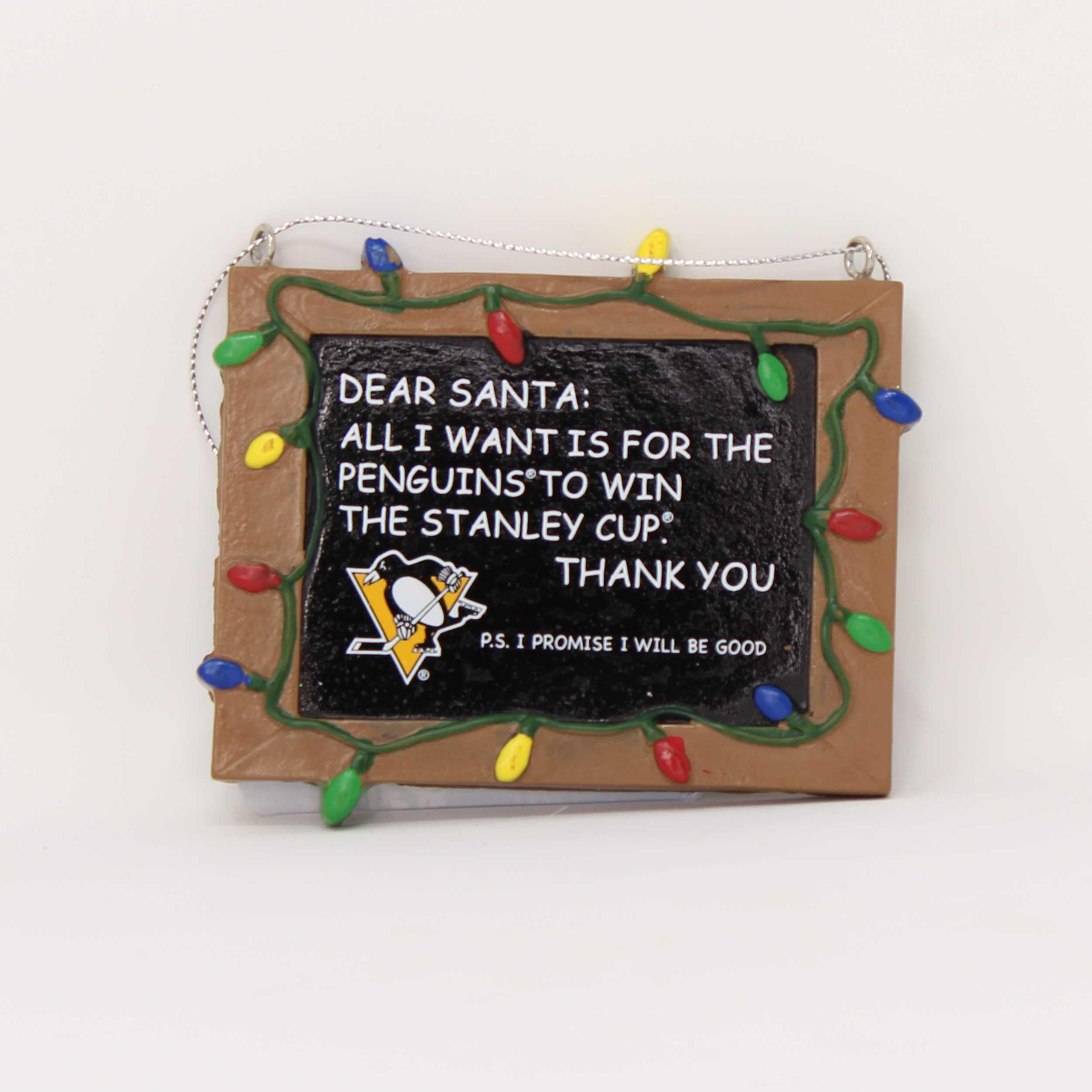 Pittsburgh Penguins Chalkboard Sign Ornament
