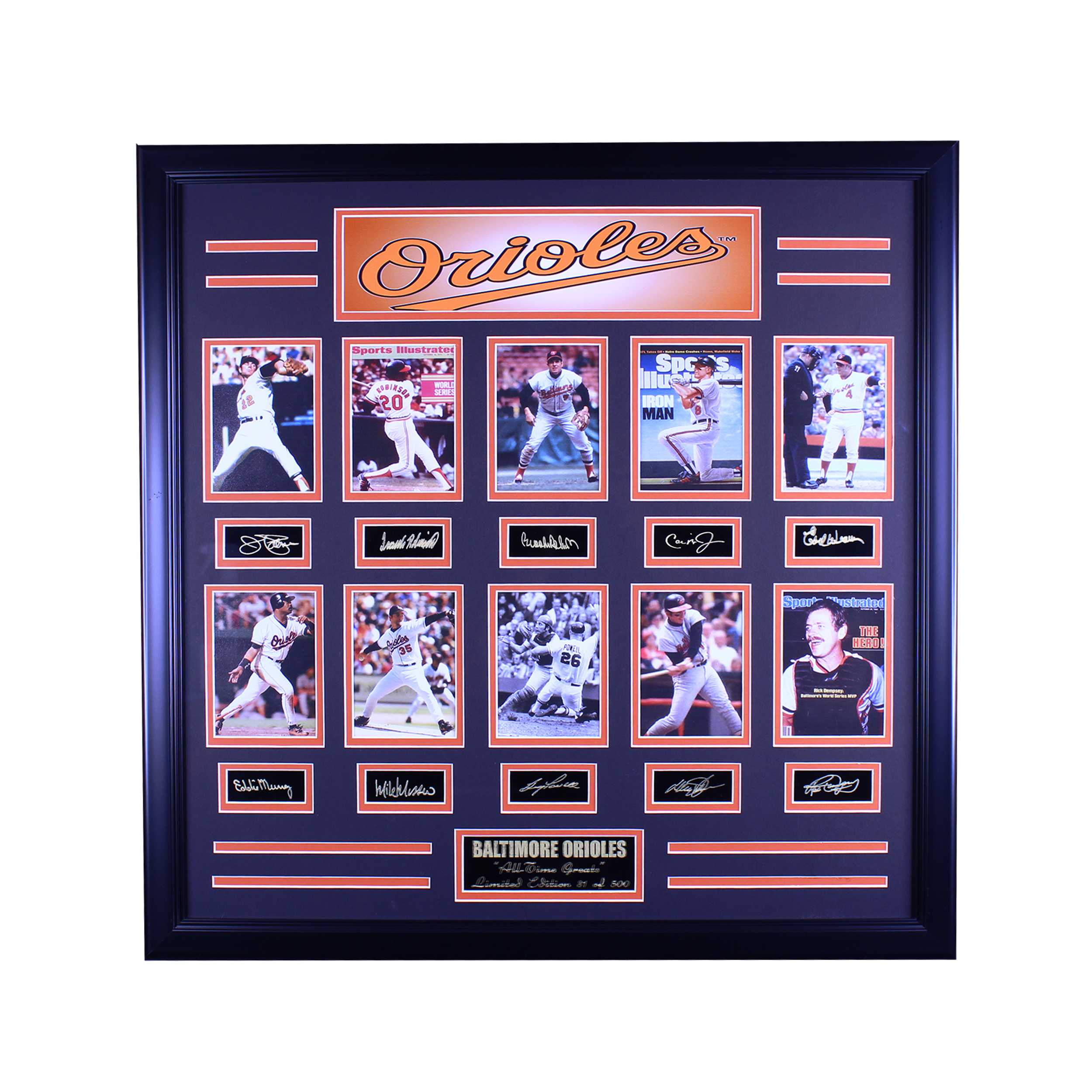 BALTIMORE ORIOLES ALL TIME GREATS ENGRAVED SIGNATURE LARGE FRAME
