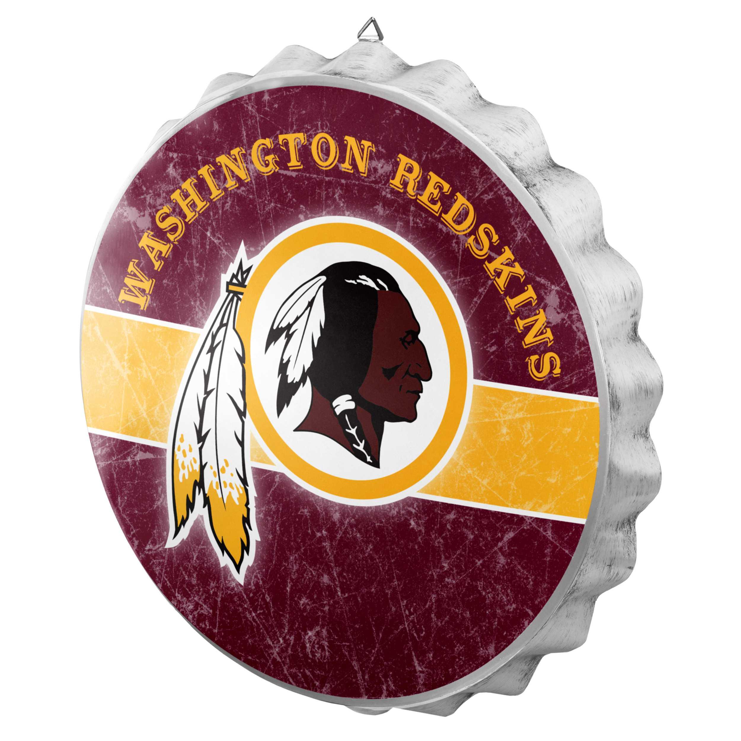 Metal Distressed Bottle Cap Sign-Washington Redskins