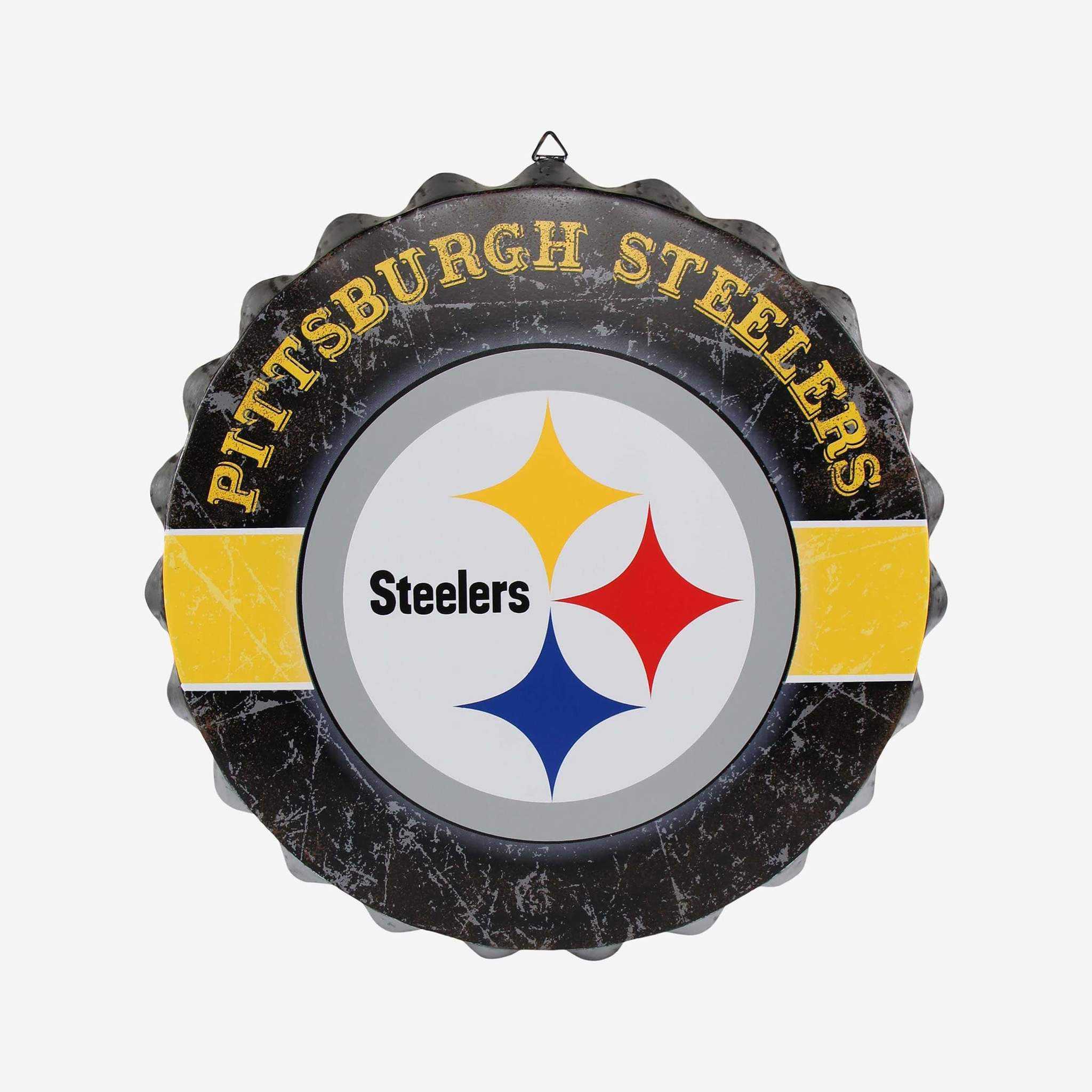 Metal Distressed Bottle Cap Sign-Pittsburgh Steelers