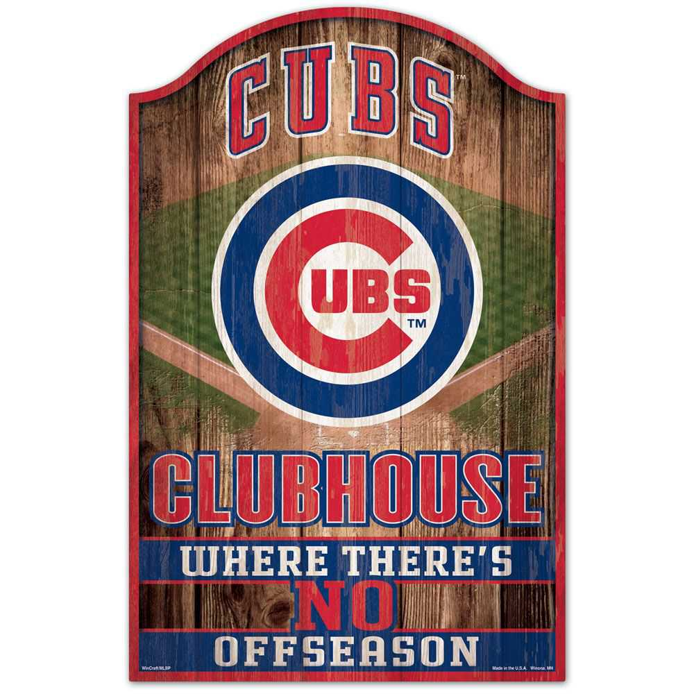 CHICAGO CUBS FAN CAVE WOOD SIGN