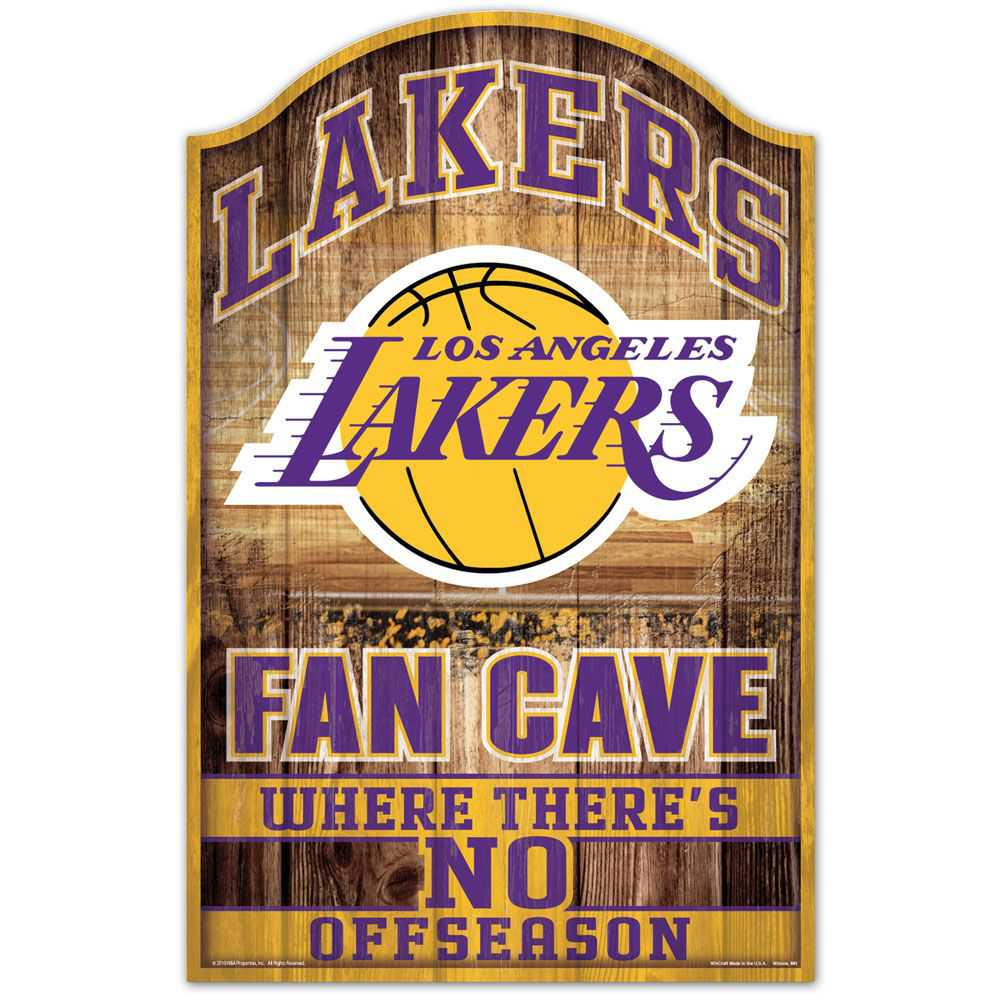 LOS ANGELES LAKERS FAN CAVE WOOD SIGN