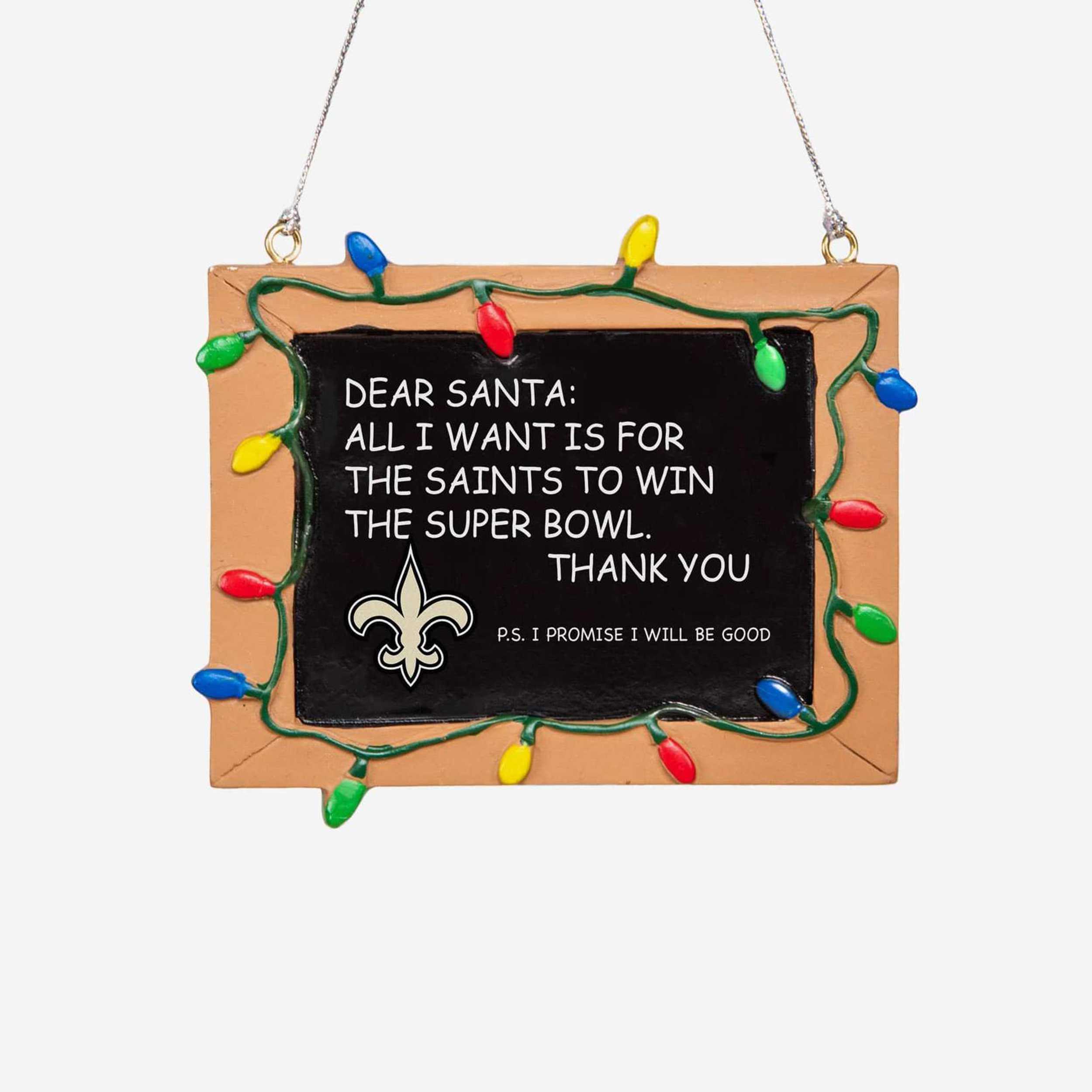 New Orleans Saints Chalkboard Sign Ornament