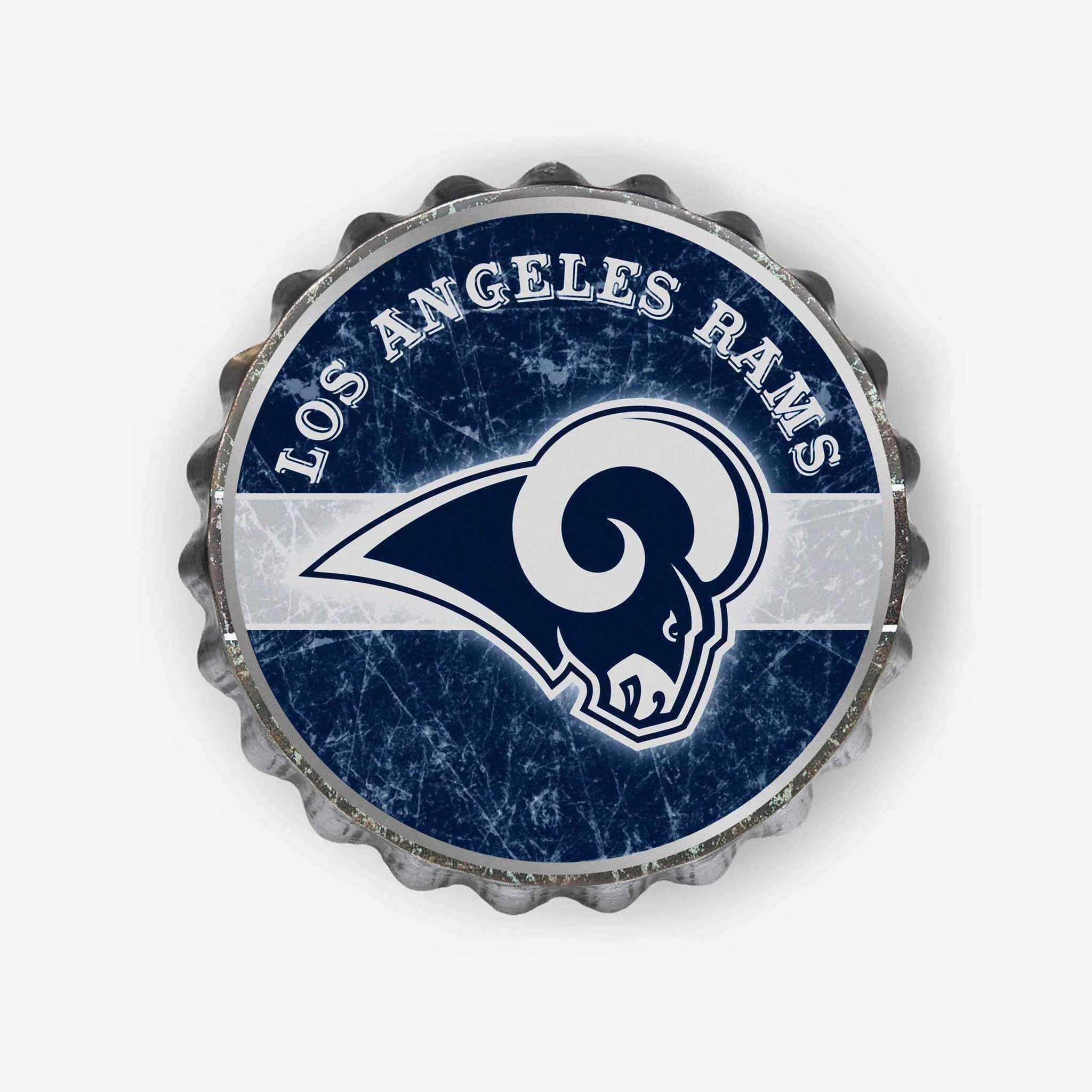 Metal Distressed Bottle Cap Sign-Los Angeles Rams