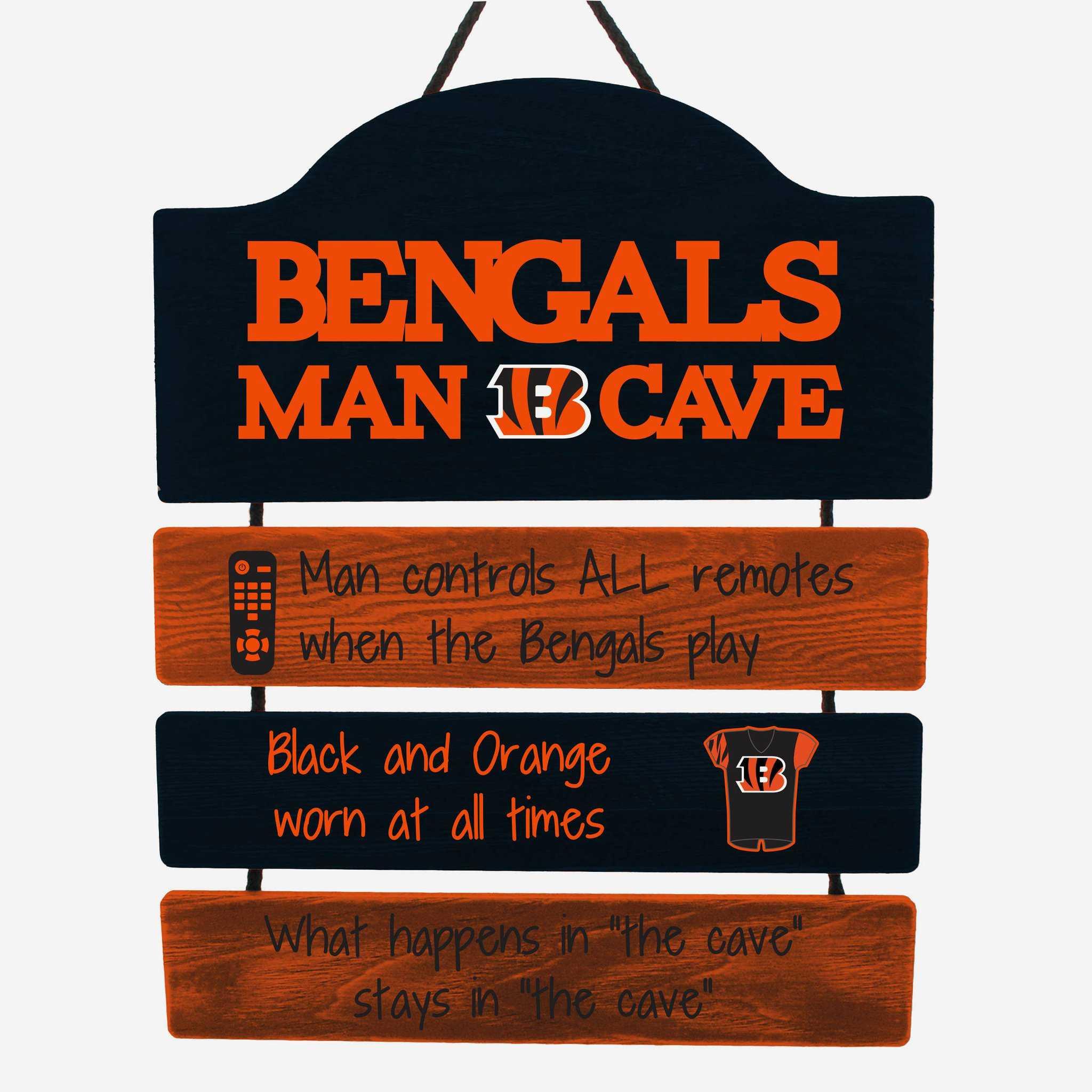 Cincinnati Bengals Man Cave Rules Sign