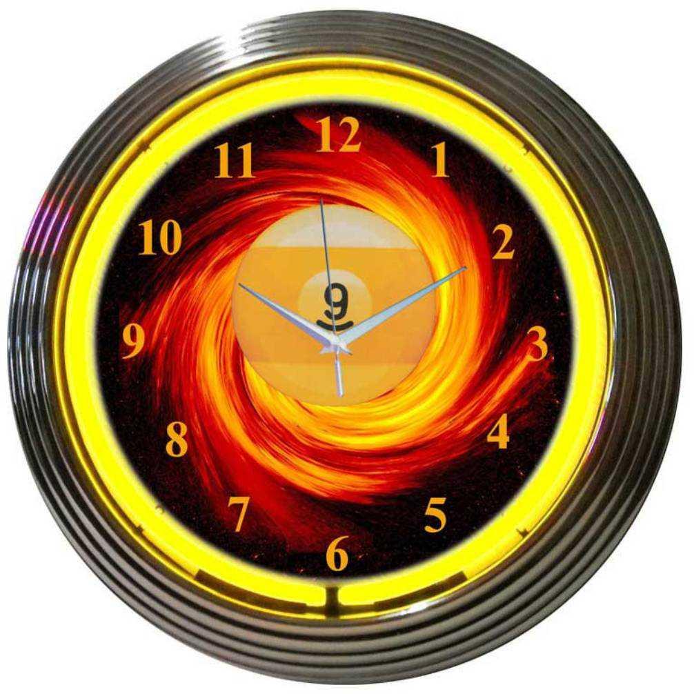9 BALL FIRE NEON CLOCK