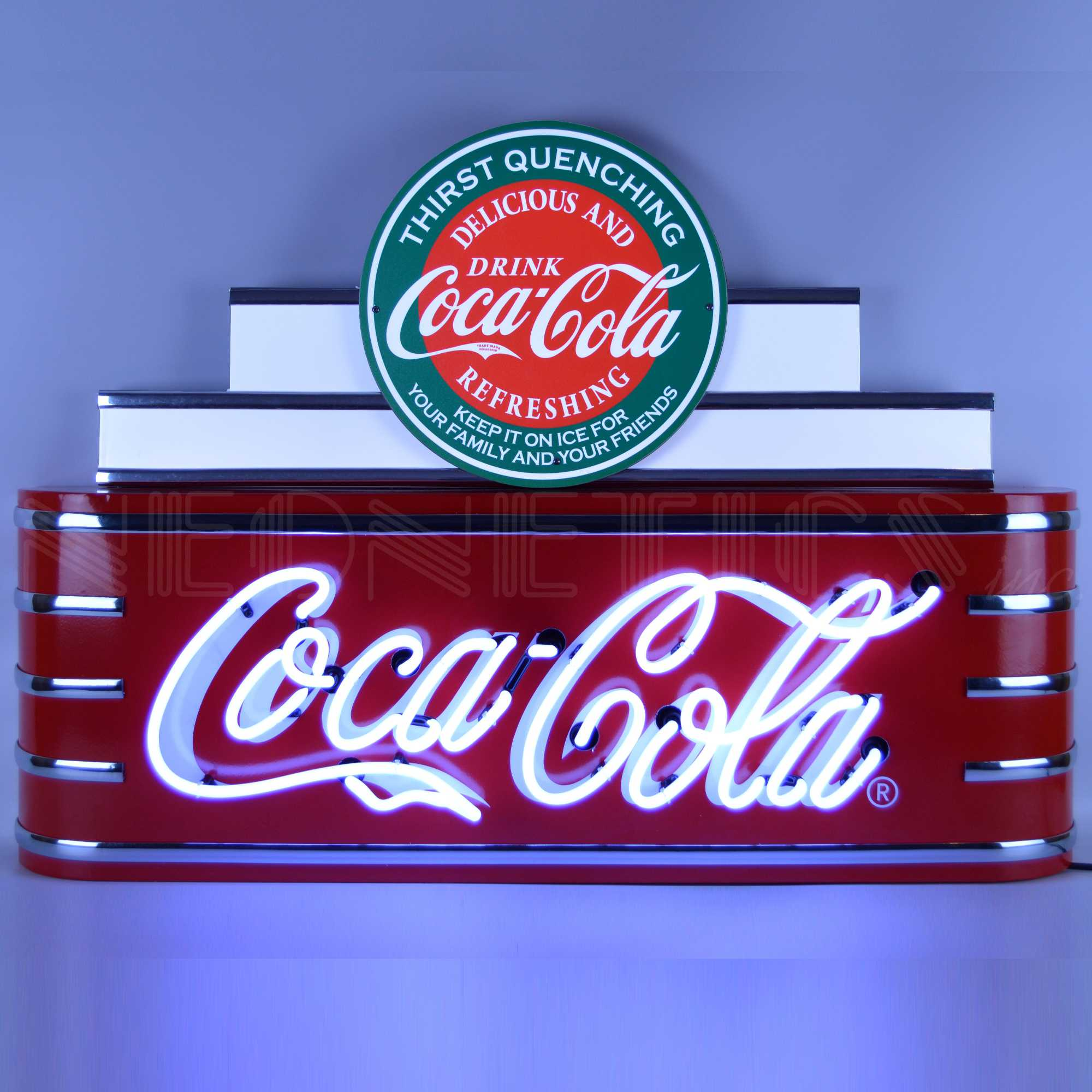 ART DECO MARQUEE COCA-COLA NEON SIGN IN STEEL CAN