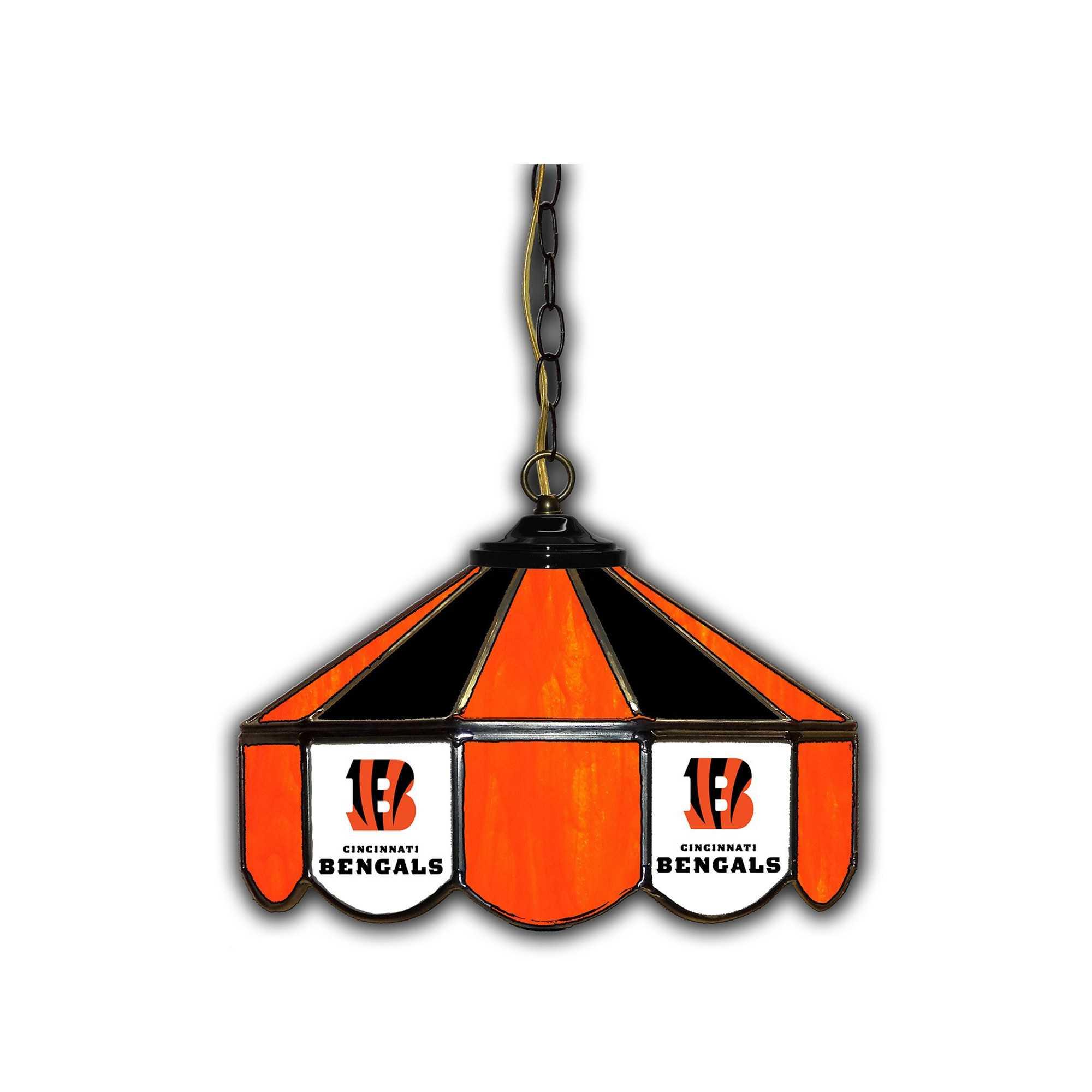 "CINCINNATI BENGALS 14"" GLASS PUB LAMP"