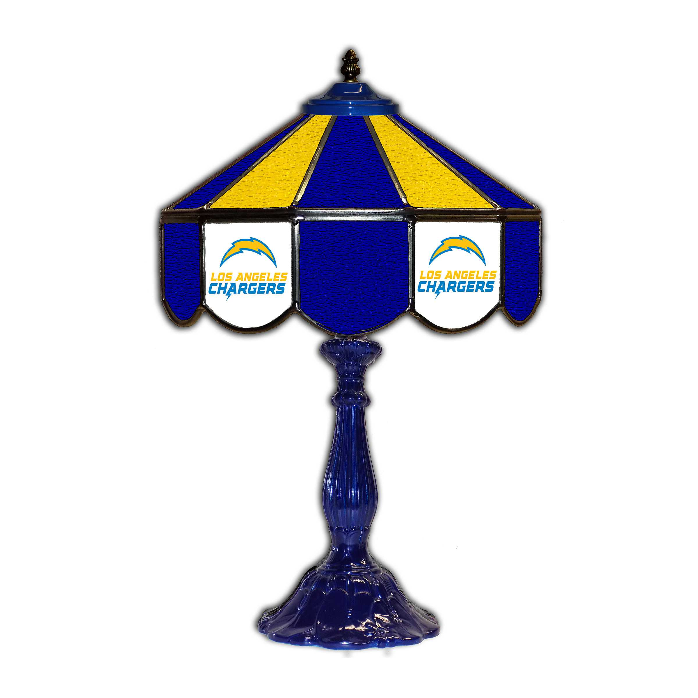 """SAN DIEGO CHARGERS 21"""" GLASS TABLE LAMP"""