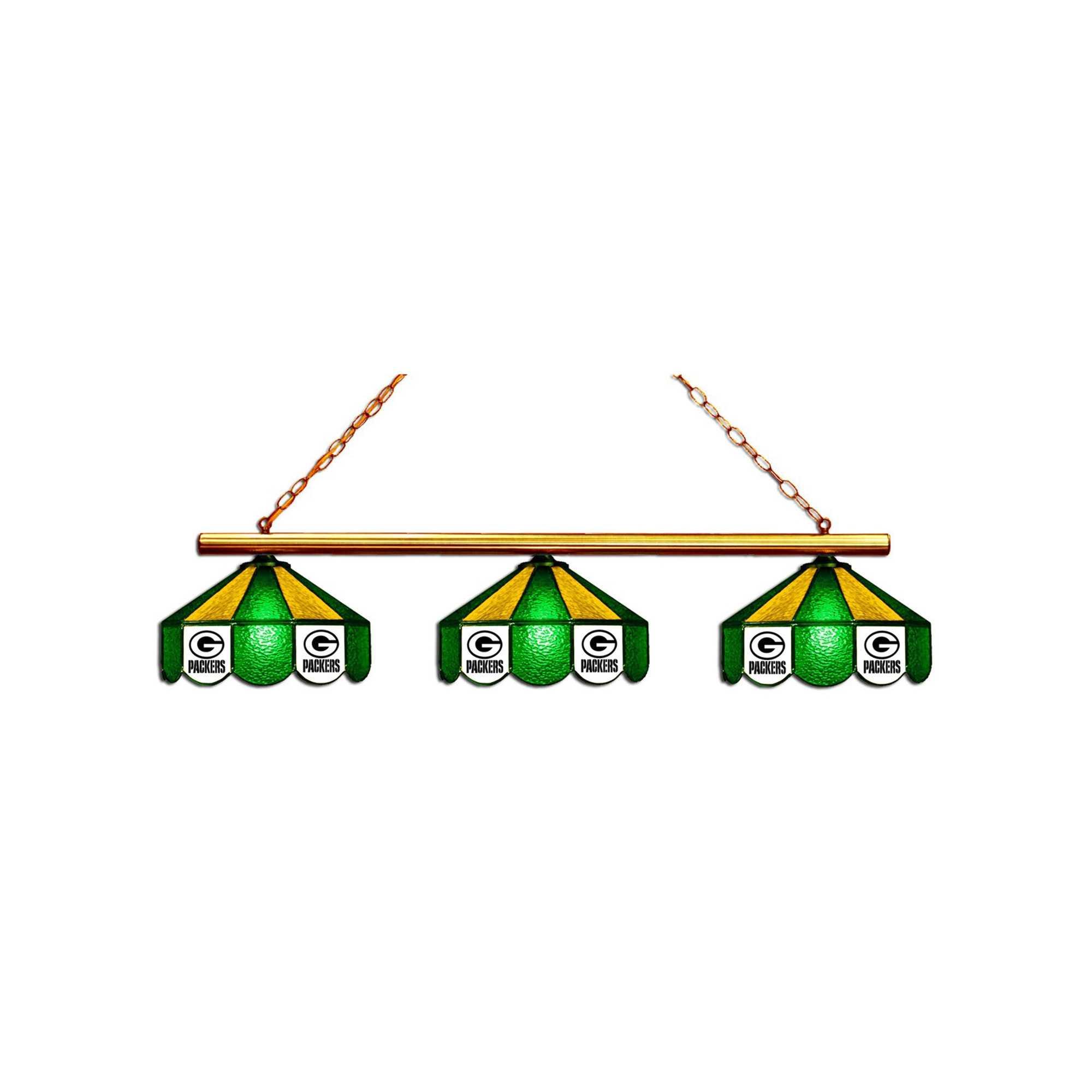 GREEN BAY PACKERS GLASS 3 SHADE LAMP (BAR)