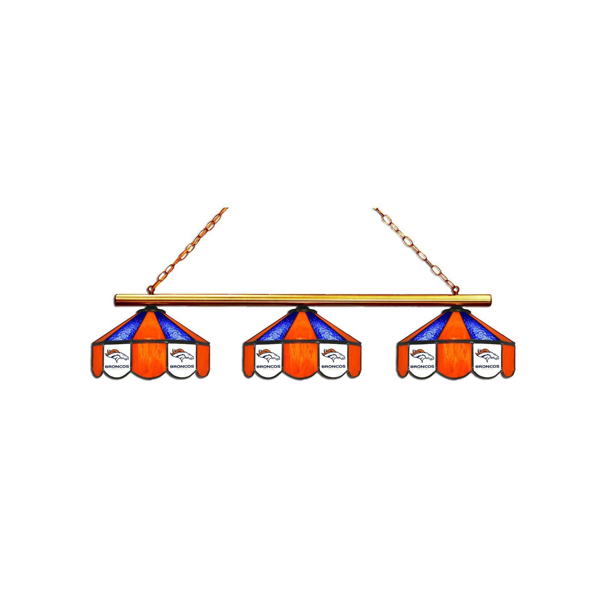 DENVER BRONCOS GLASS 3 SHADE LAMP (BAR)