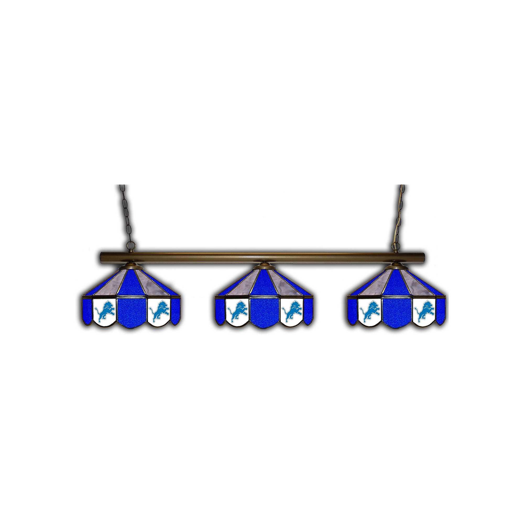 DETROIT LIONS GLASS 3 SHADE LAMP (BAR)