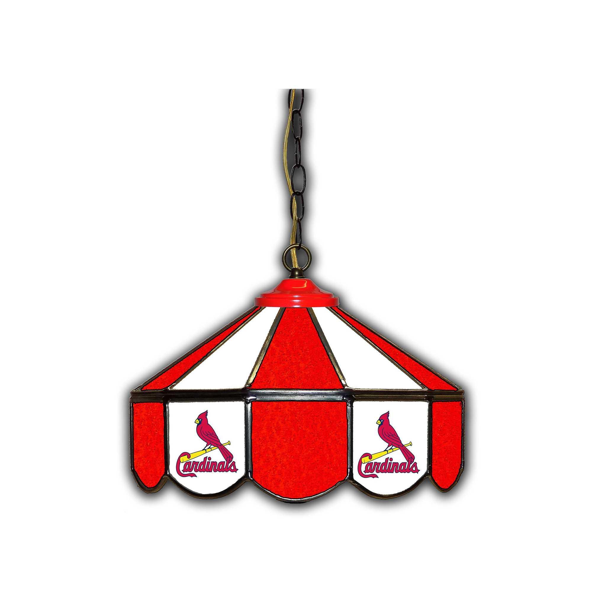 """ST LOUIS CARDINALS 14"""" GLASS PUB LAMP"""