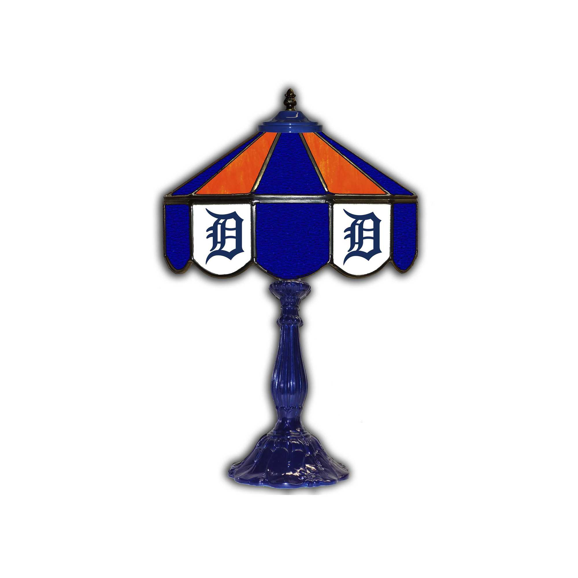 """DETROIT TIGERS 21"""" GLASS TABLE LAMP"""