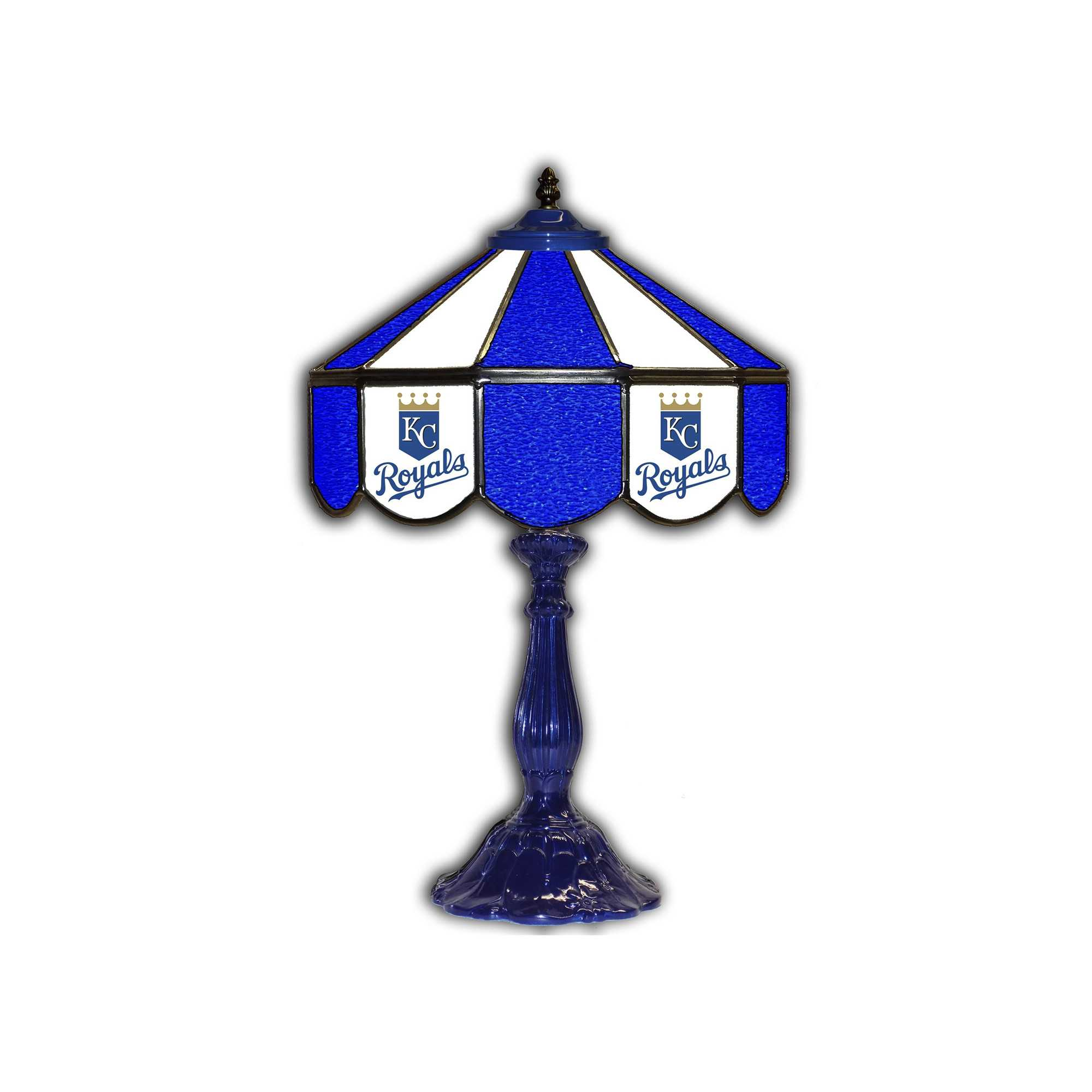 "KANSAS CITY ROYALS 21"" GLASS TABLE LAMP"
