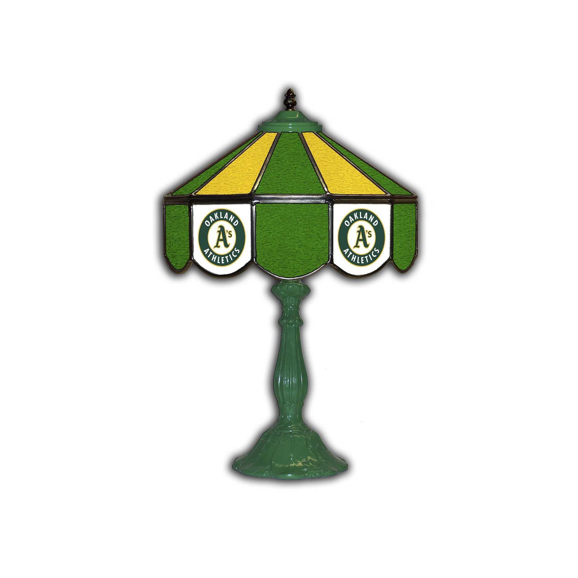 "OAKLAND ATHLETICS 21"" GLASS TABLE LAMP"