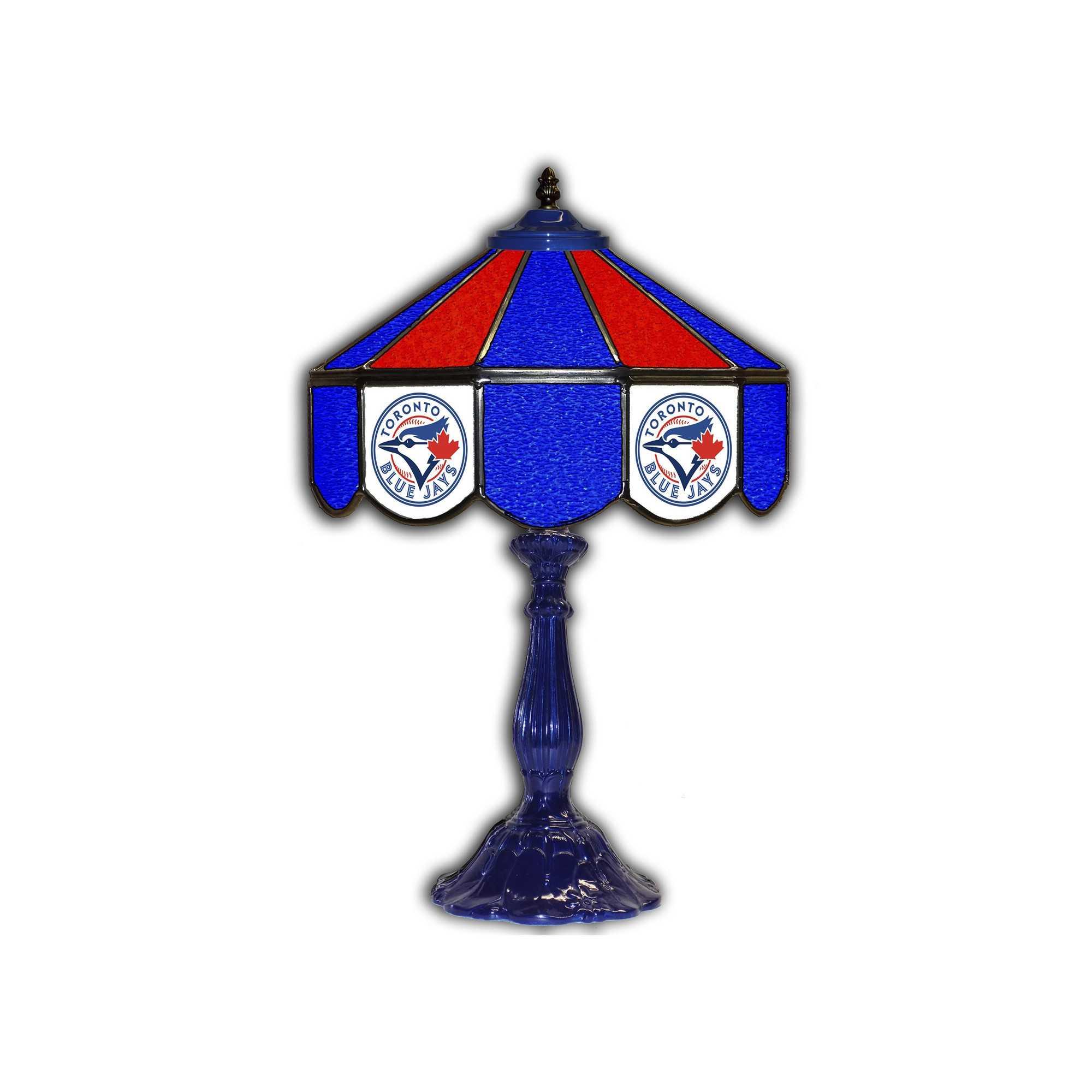 "TORONTO BLUE JAYS 21"" GLASS TABLE LAMP"