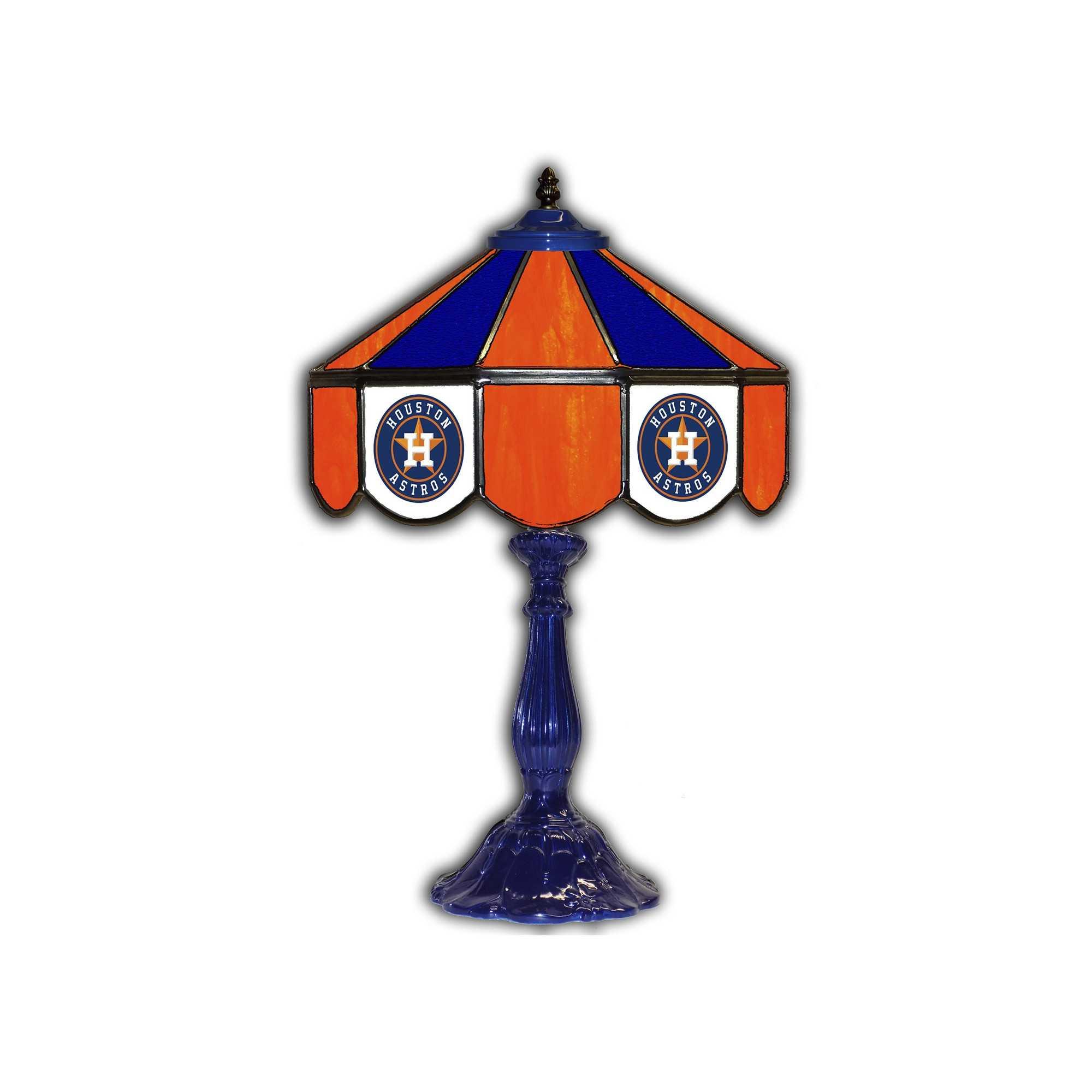 "HOUSTON ASTROS 21"" GLASS TABLE LAMP"
