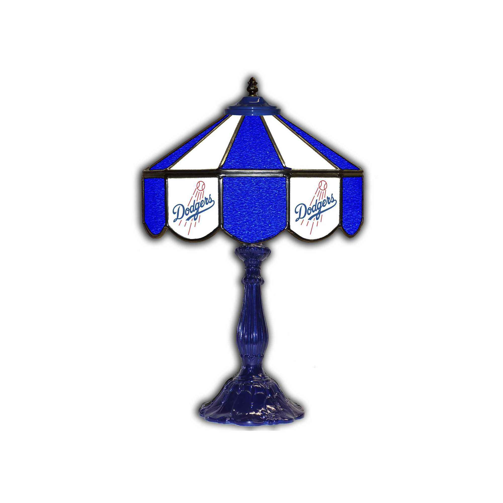 """LOS ANGELES DODGERS 21"""" GLASS TABLE LAMP"""