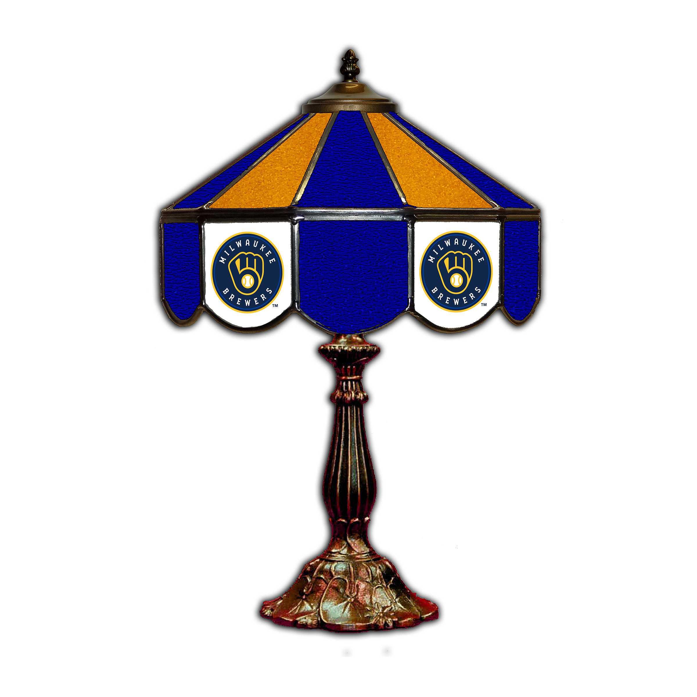 "MILWAUKEE BREWERS 21"" GLASS TABLE LAMP"