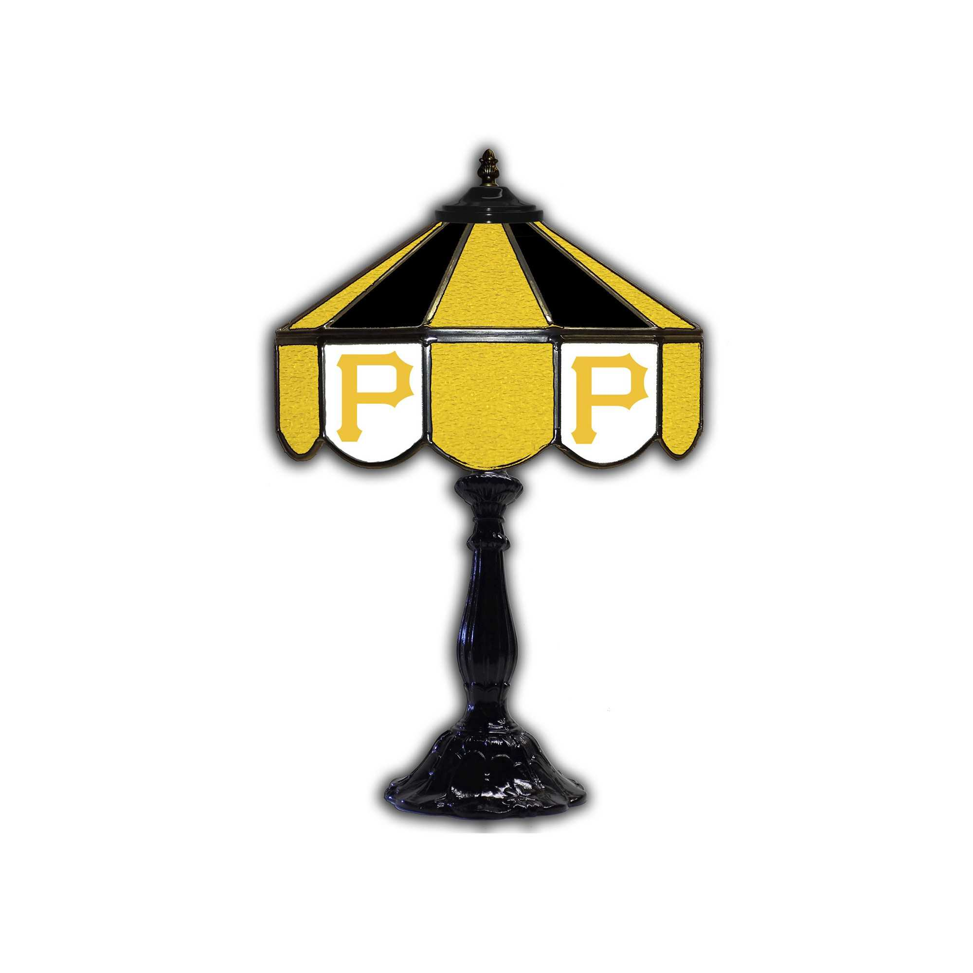 """PITTSBURG PIRATES 21"""" GLASS TABLE LAMP"""