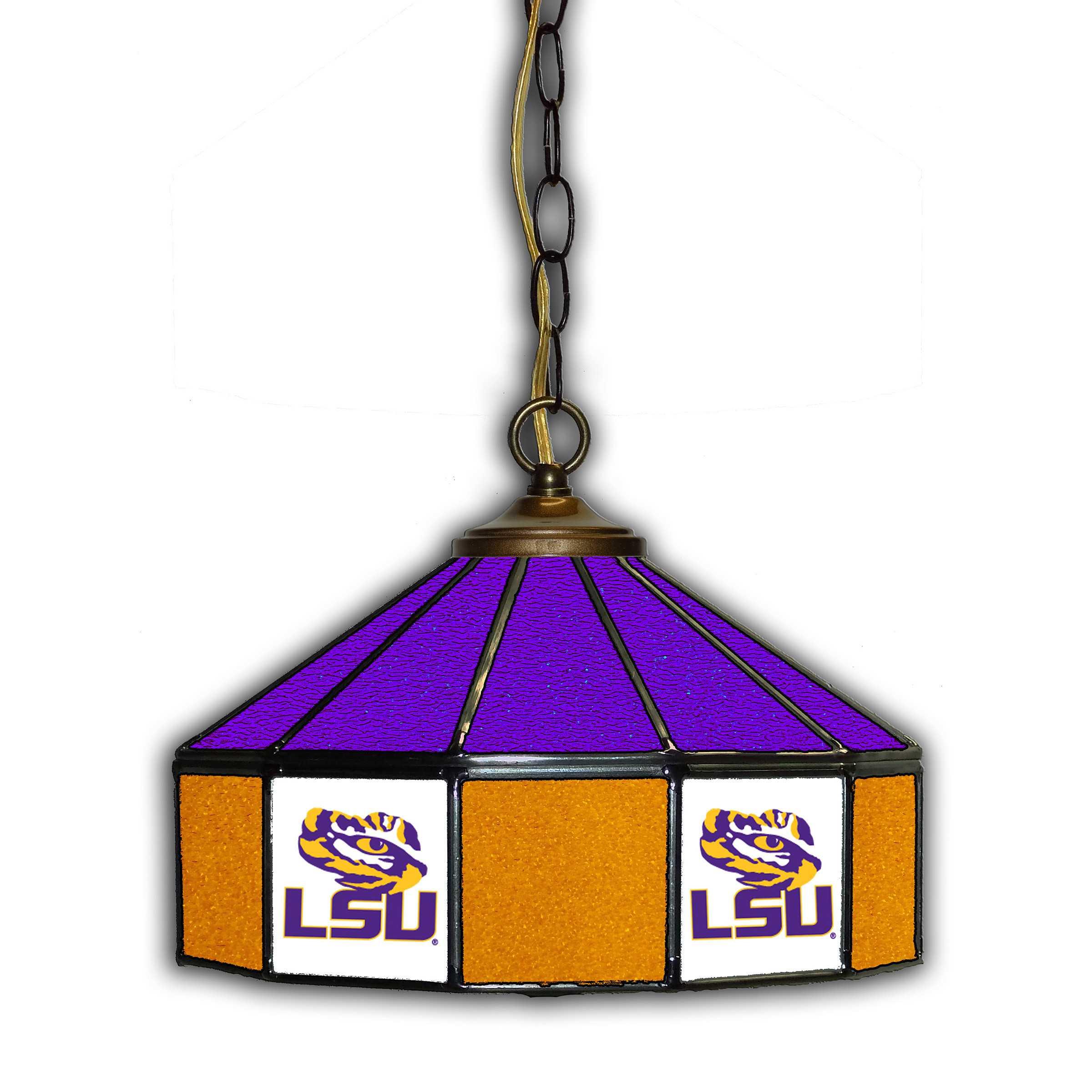 """LOUISIANA STATE UNIVERSITY 14"""" GLASS PUB LAMP"""