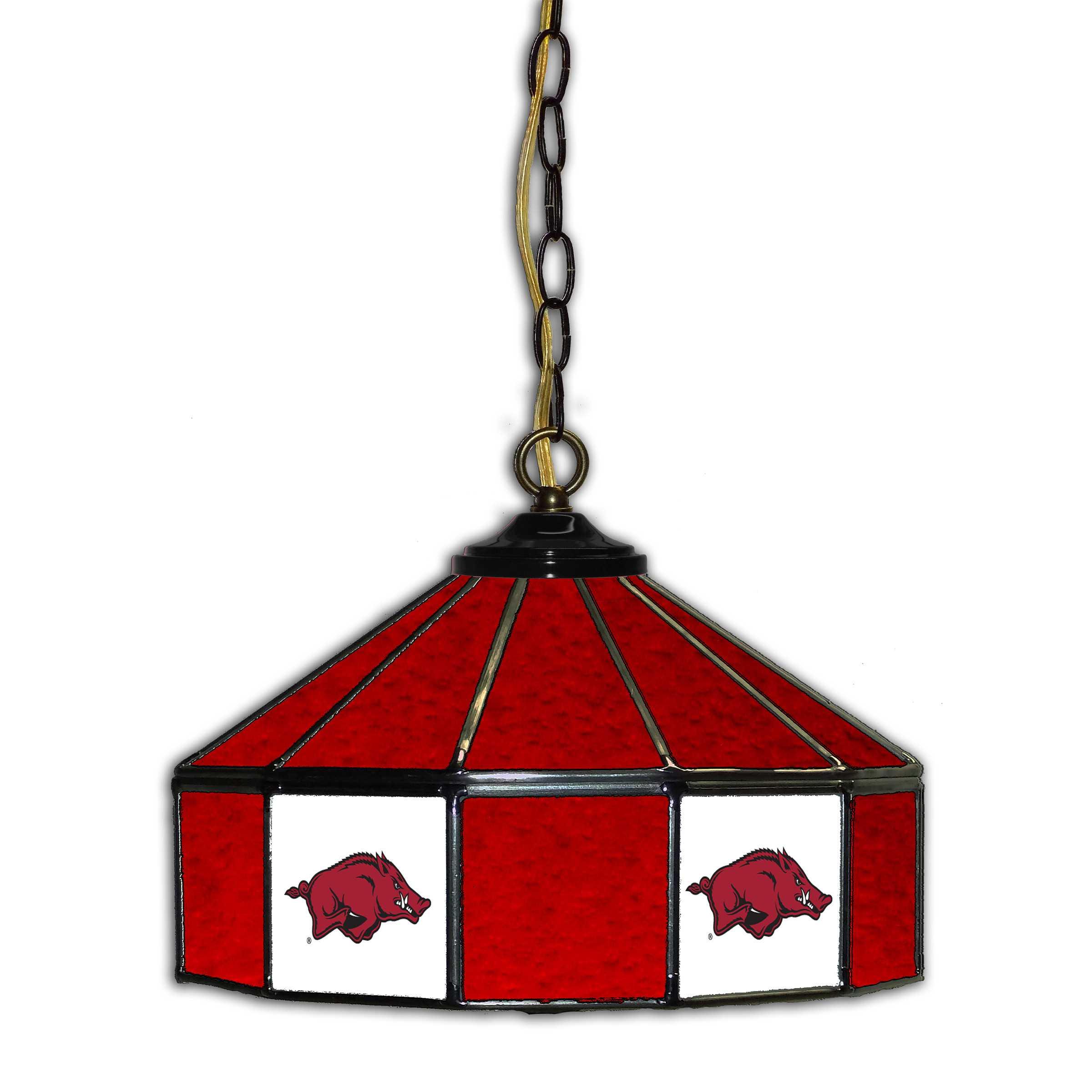 "UNIVERSITY OF ARKANSAS 14"" GLASS PUB LAMP"
