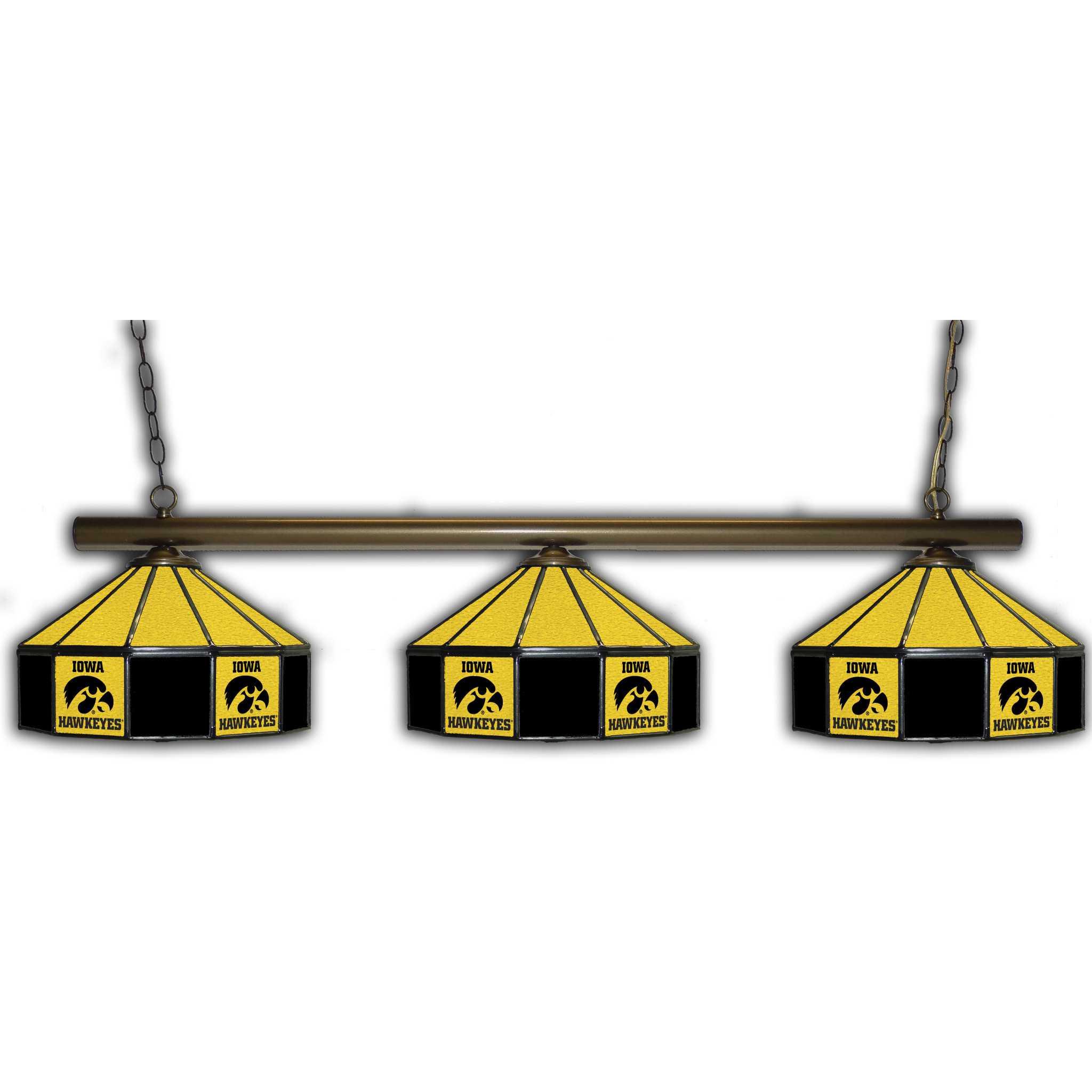 UNIVERSITY OF IOWA 3 SHADE GLASS LAMP