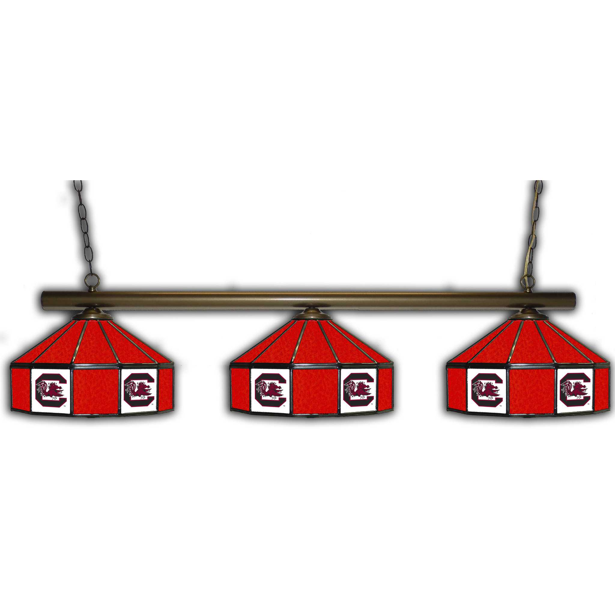 SOUTH CAROLINA GAMECOCKS 3 SHADE GLASS LAMP