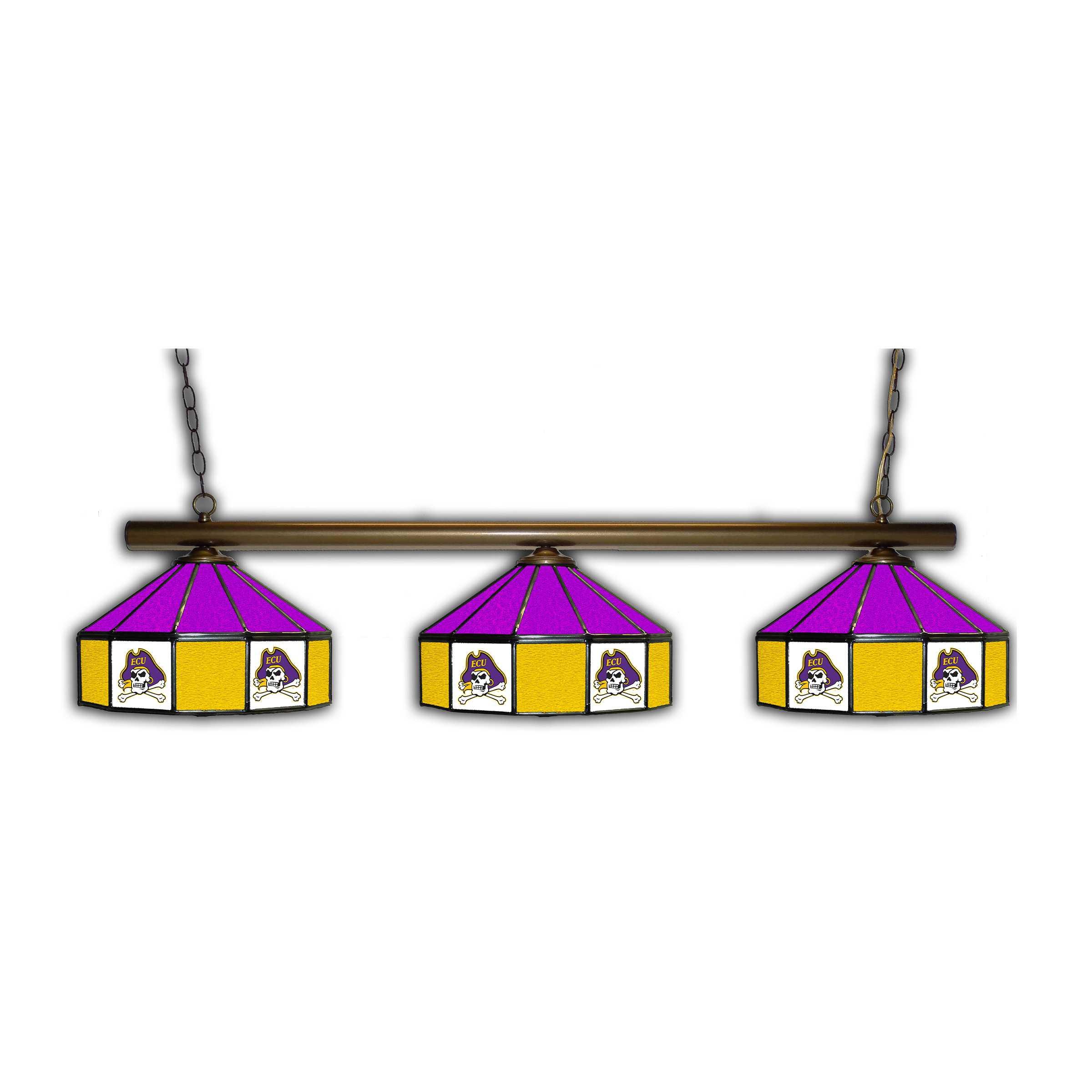 EASTERN CAROLINA PIRATES 3 SHADE GLASS LAMP