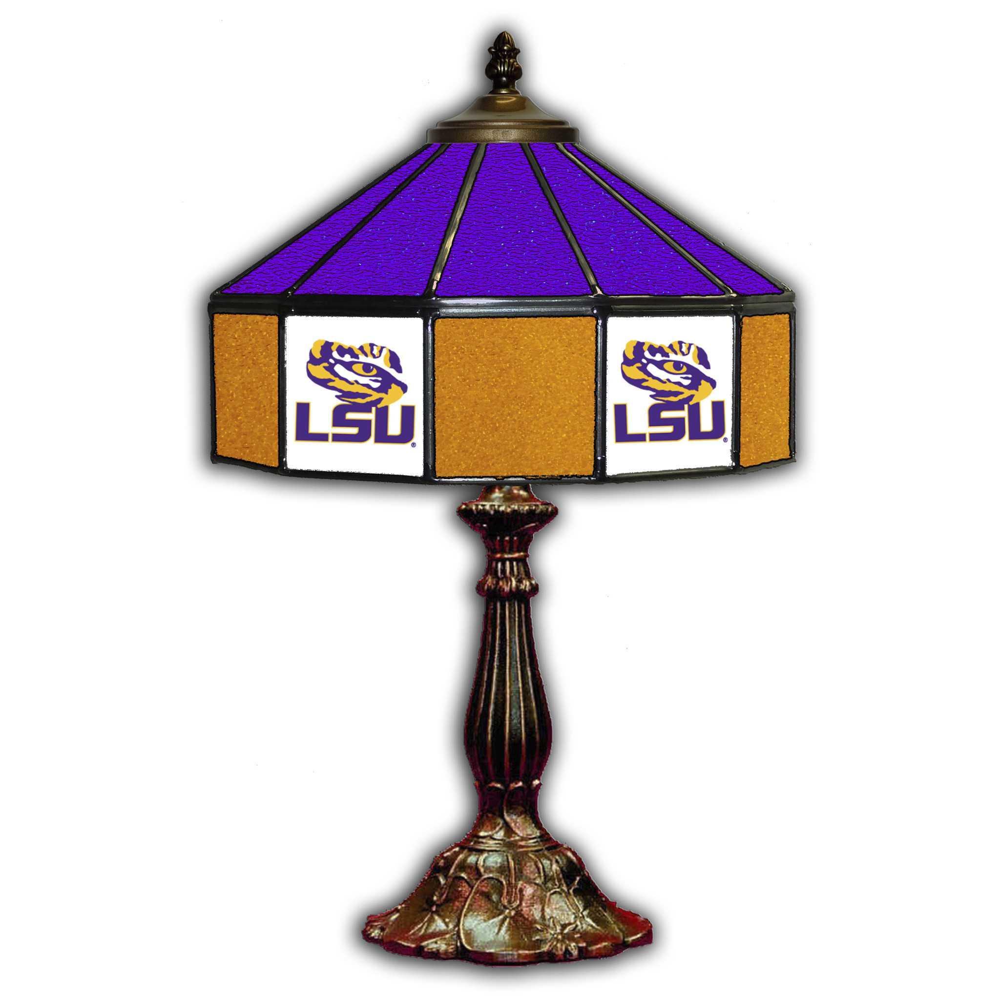 "LOUISIANA STATE UNIVERSITY 21"" GLASS TABLE LAMP"