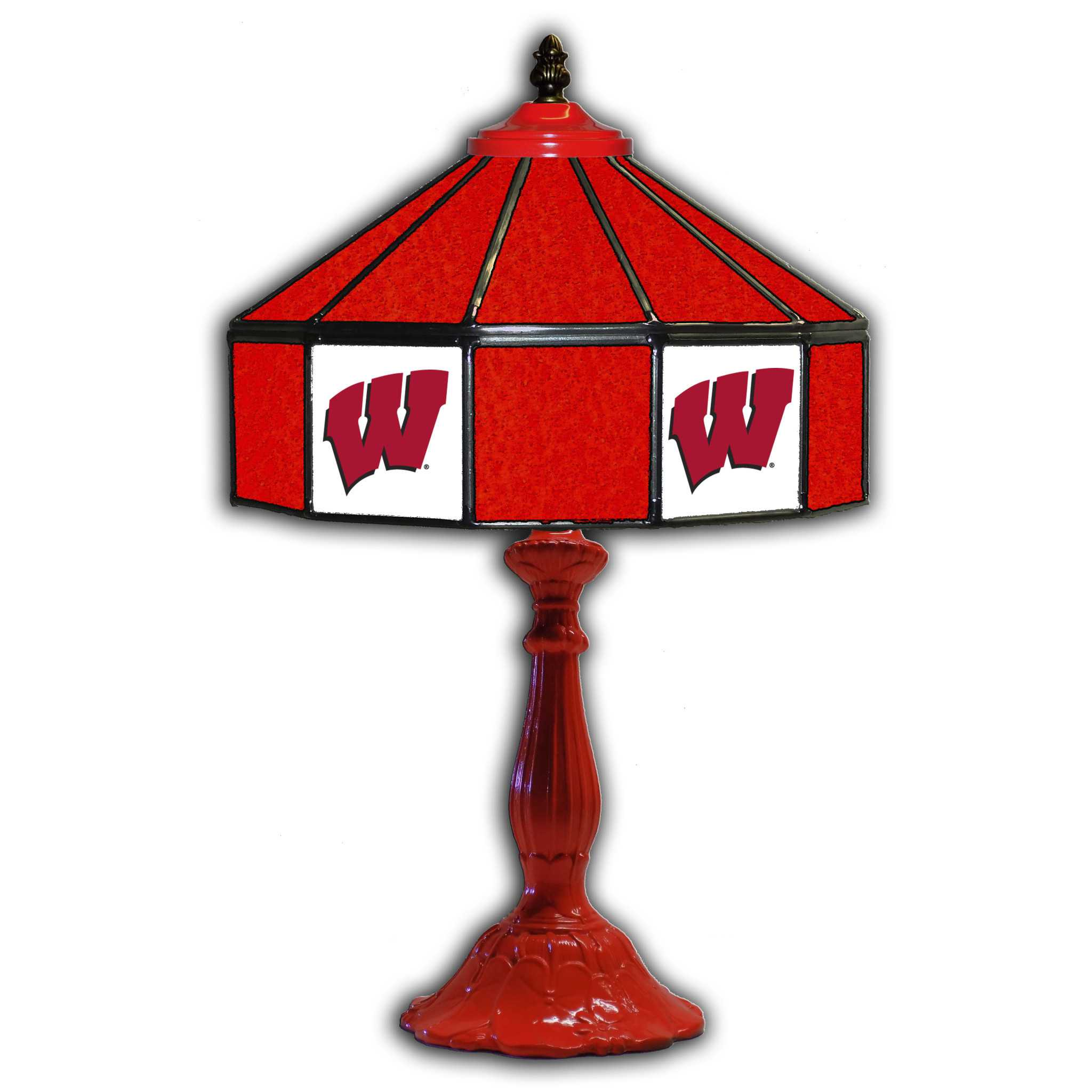 """UNIVERSITY OF WISCONSIN 21"""" GLASS TABLE LAMP"""