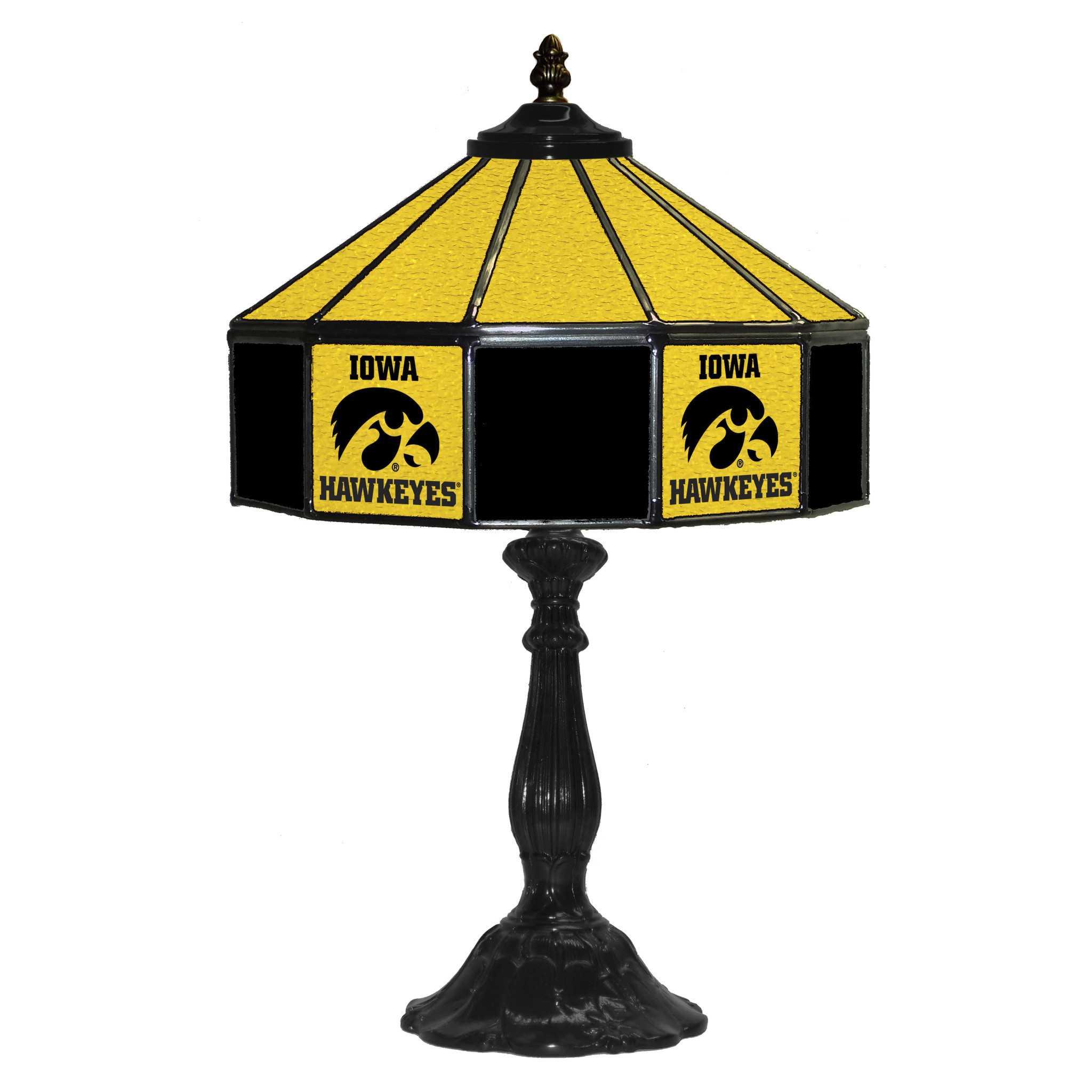"UNIVERSITY OF IOWA 21"" GLASS TABLE LAMP"