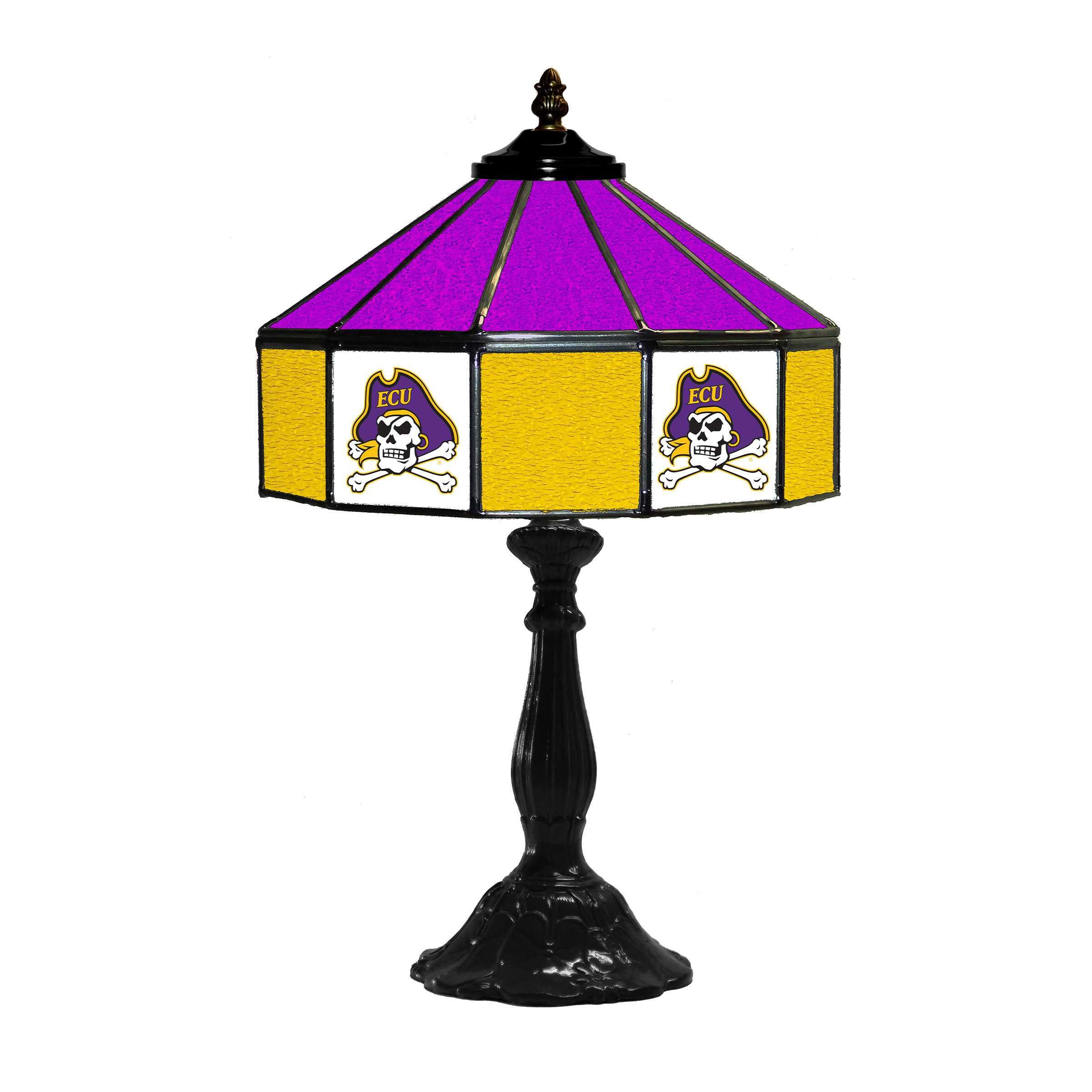 "EASTERN CAROLINA UNIVERSITY 21"" GLASS TABLE LAMP"