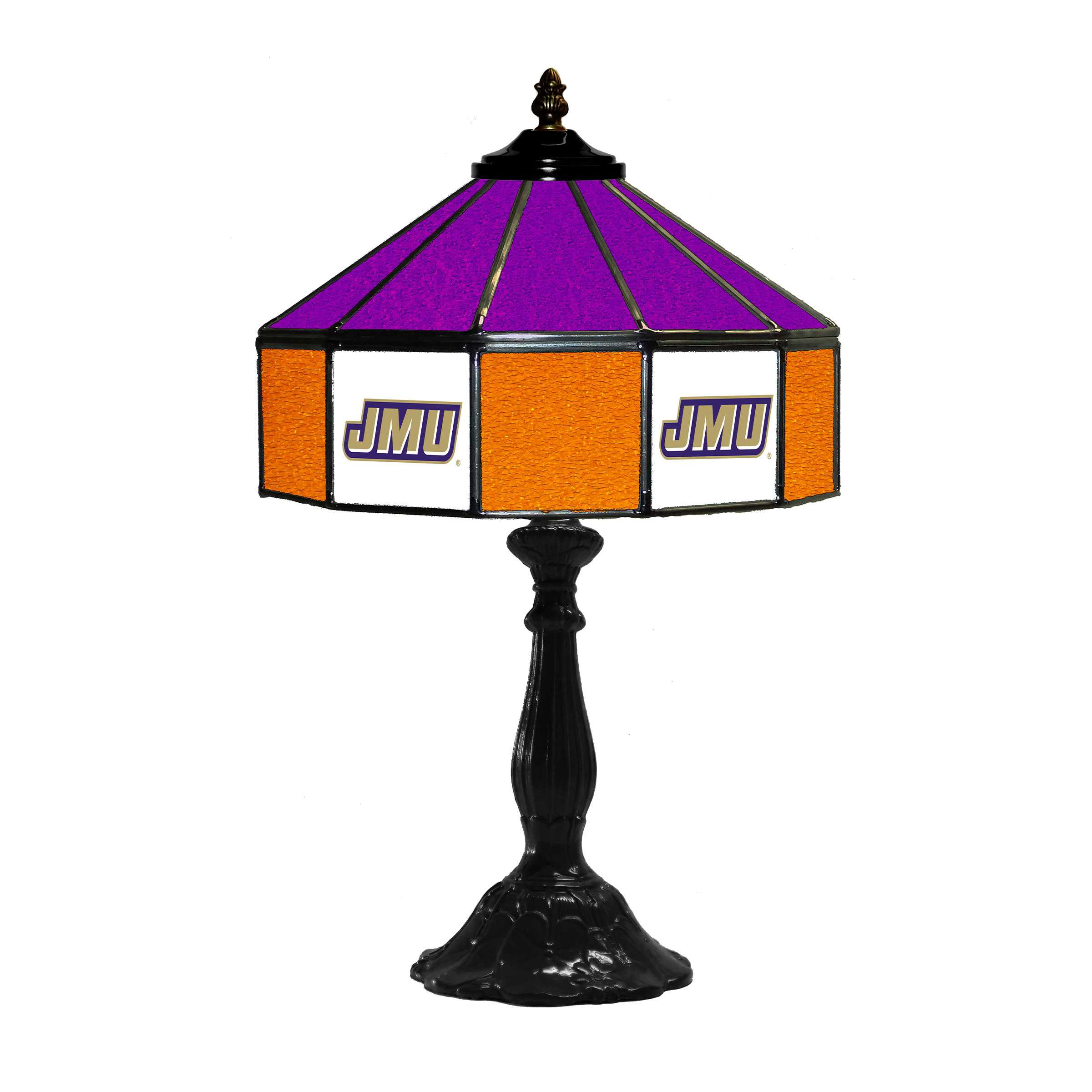 "JAMES MADISON UNIVERSITY 21"" GLASS TABLE LAMP"