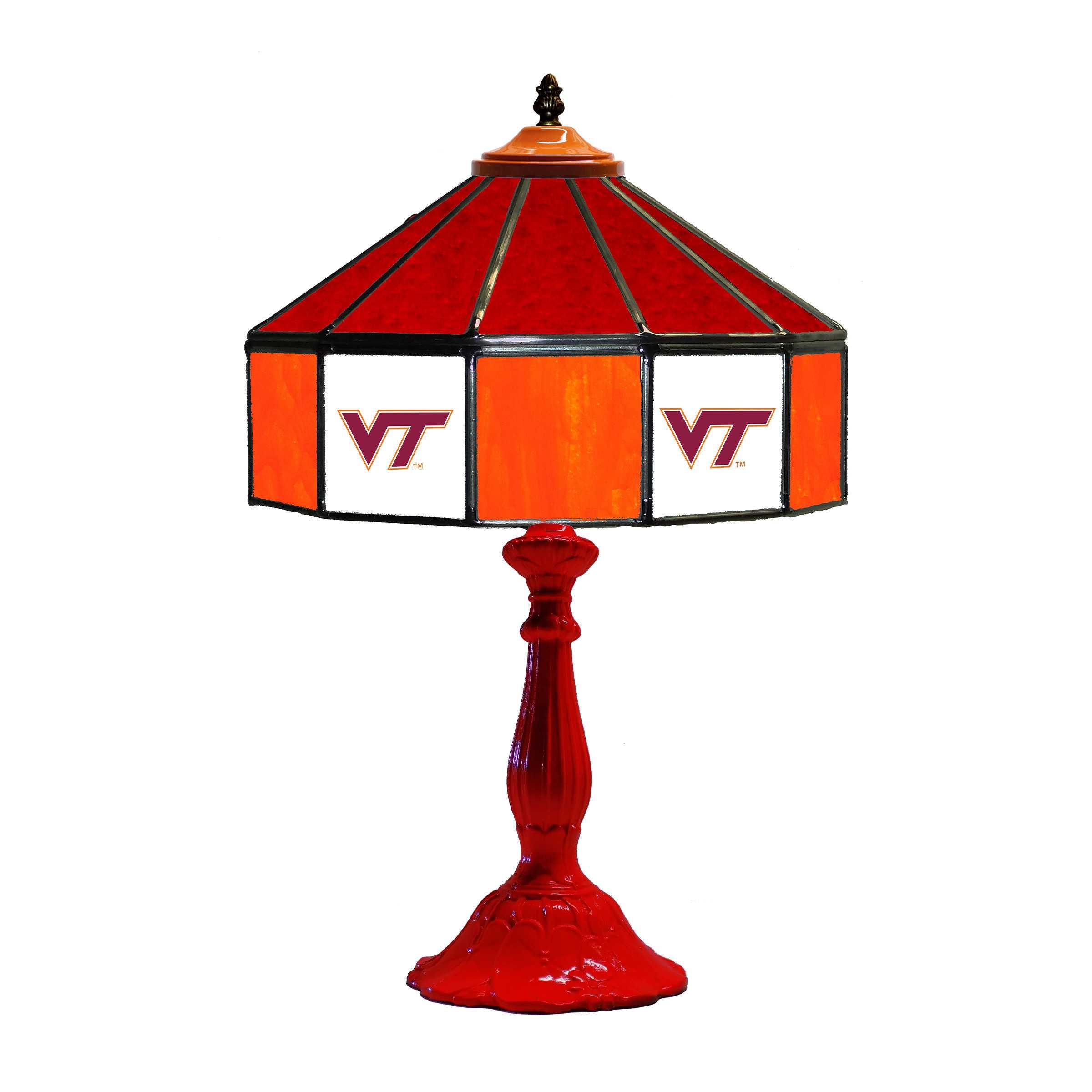 "VIRGINIA TECH HOKIES 21"" GLASS TABLE LAMP"