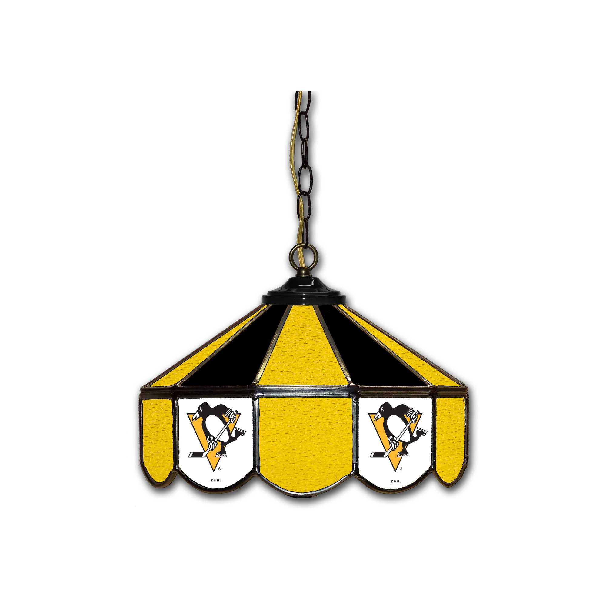 "PITTSBURGH PENGUINS 14"" GLASS PUB LAMP"