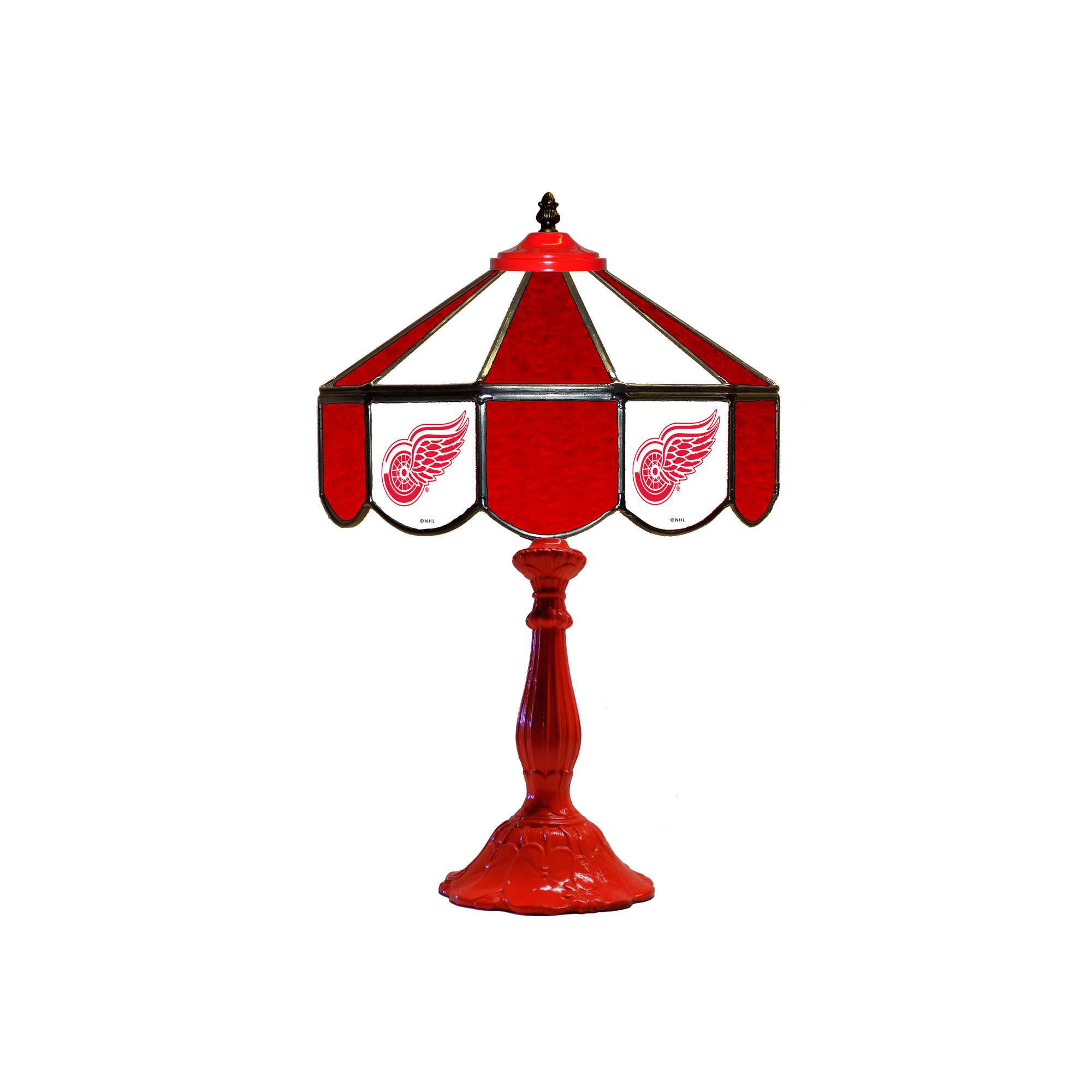 """DETROIT RED WINGS 21"""" GLASS TABLE LAMP"""