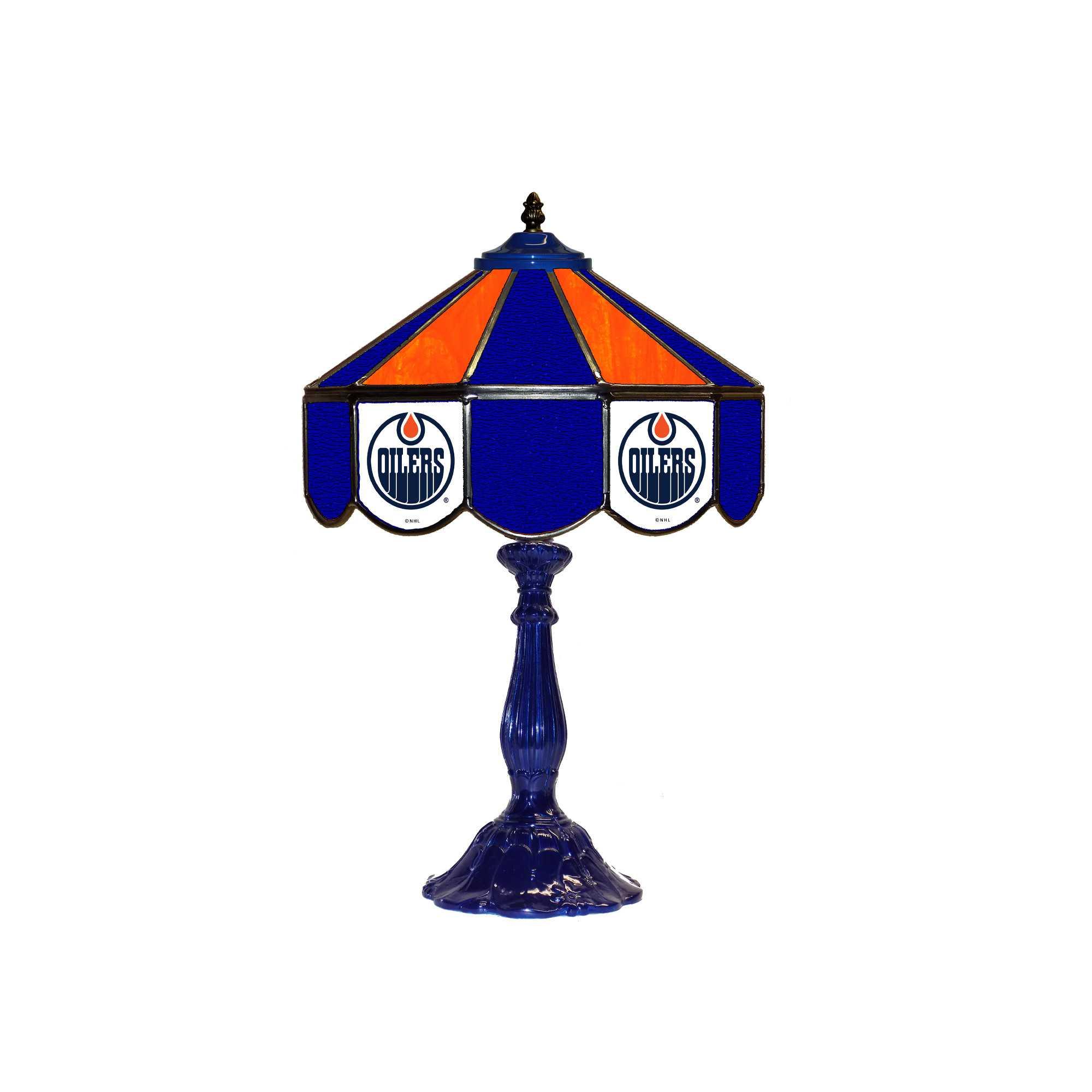 "EDMONTON OILERS 21"" GLASS TABLE LAMP"