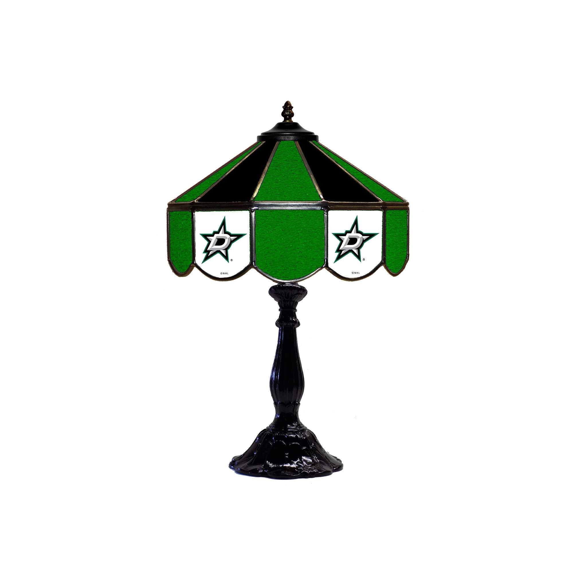 """DALLAS STARS 21"""" GLASS TABLE LAMP"""