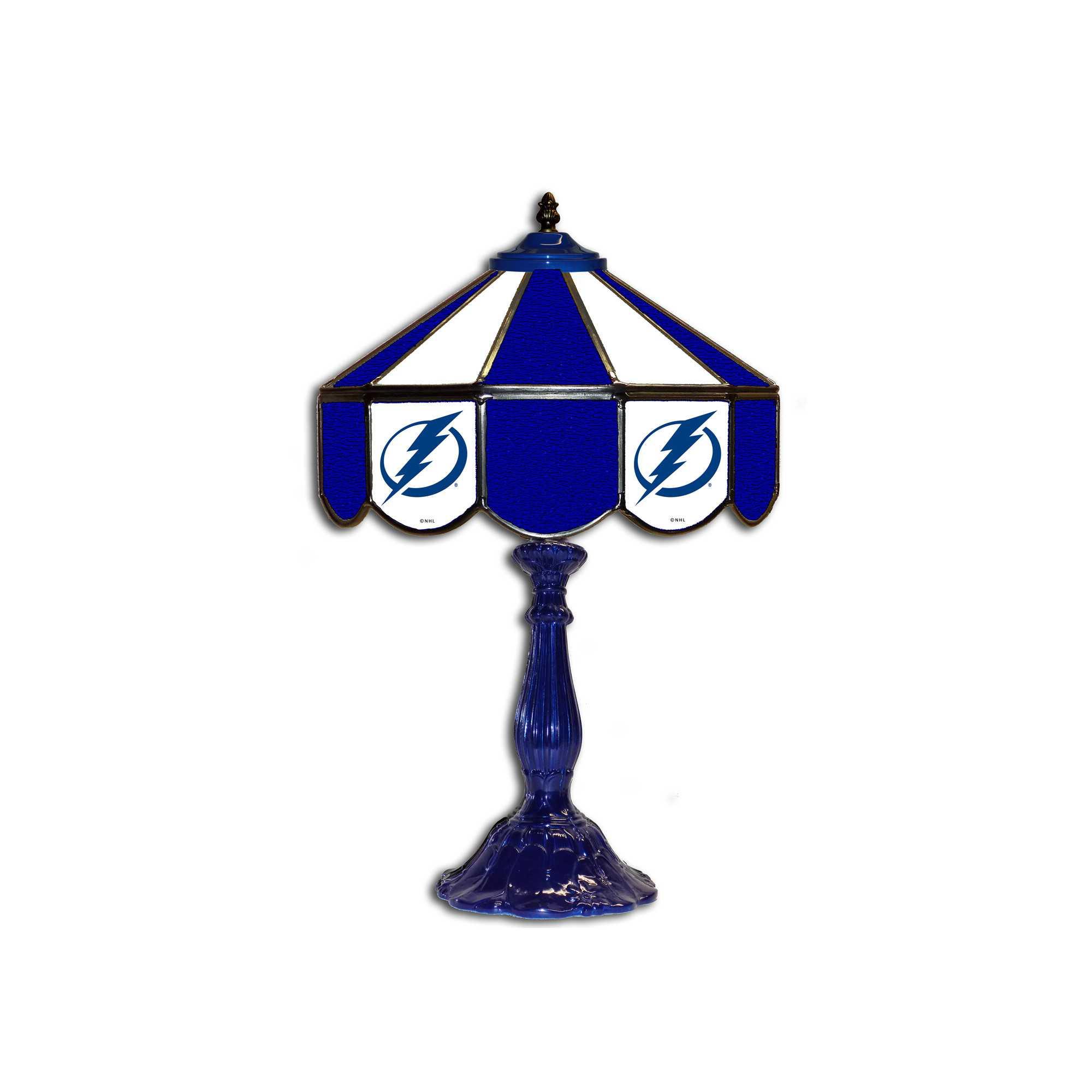 "TAMPA BAY LIGHTNING 21"" GLASS TABLE LAMP"