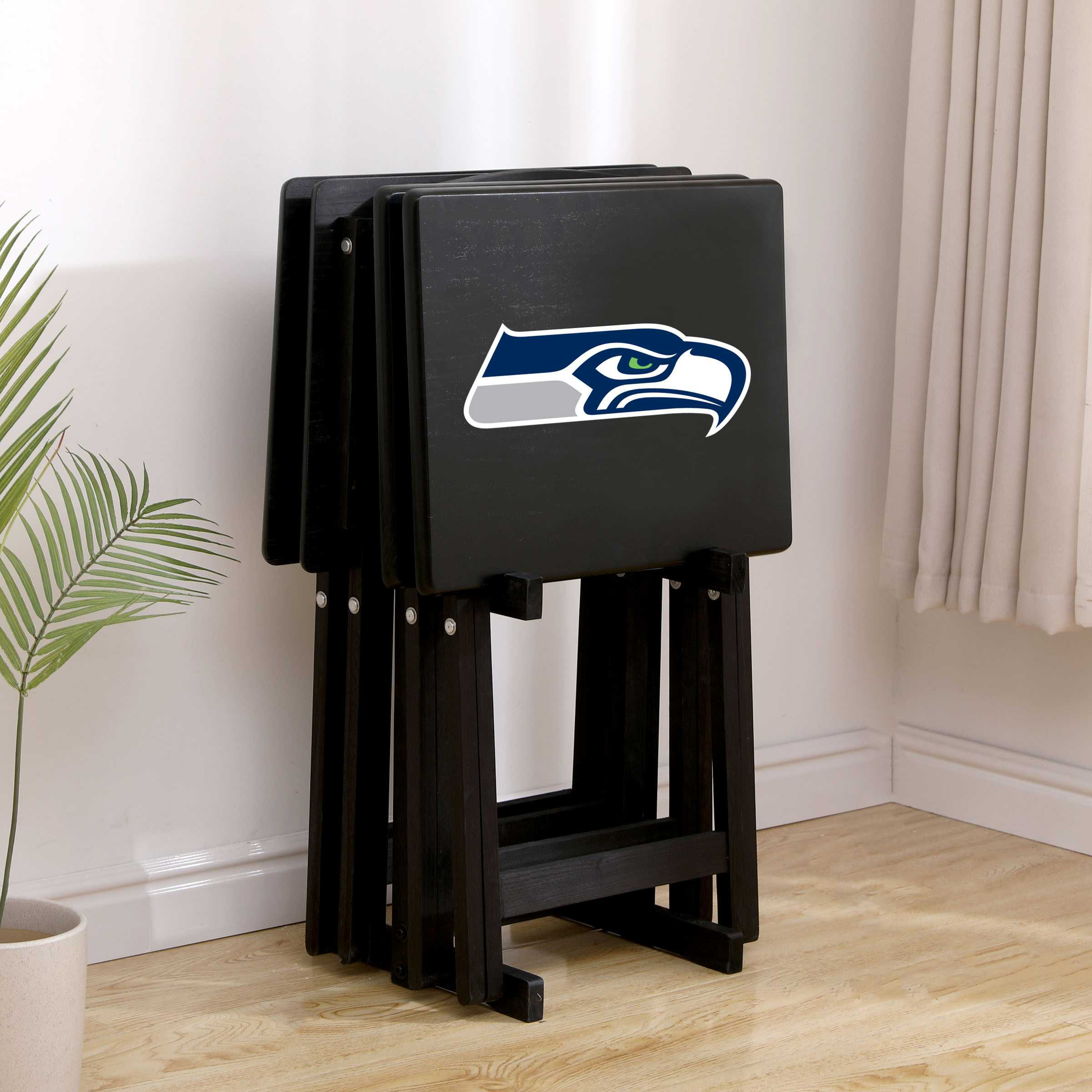 SEATTLE SEAHAWKS 4 TV TRAYS WITH STAND