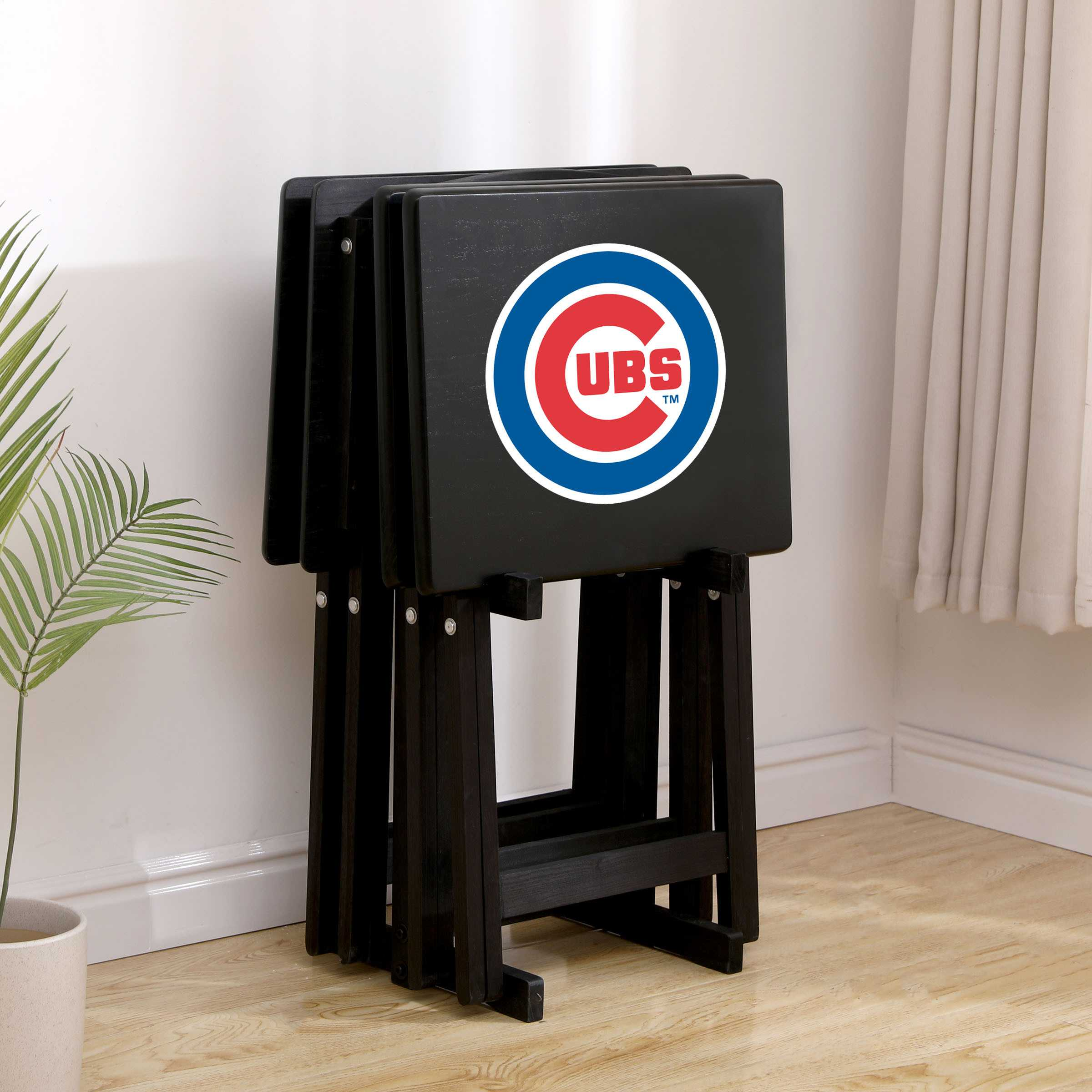 CHICAGO CUBS 4 TV TRAYS WITH STAND