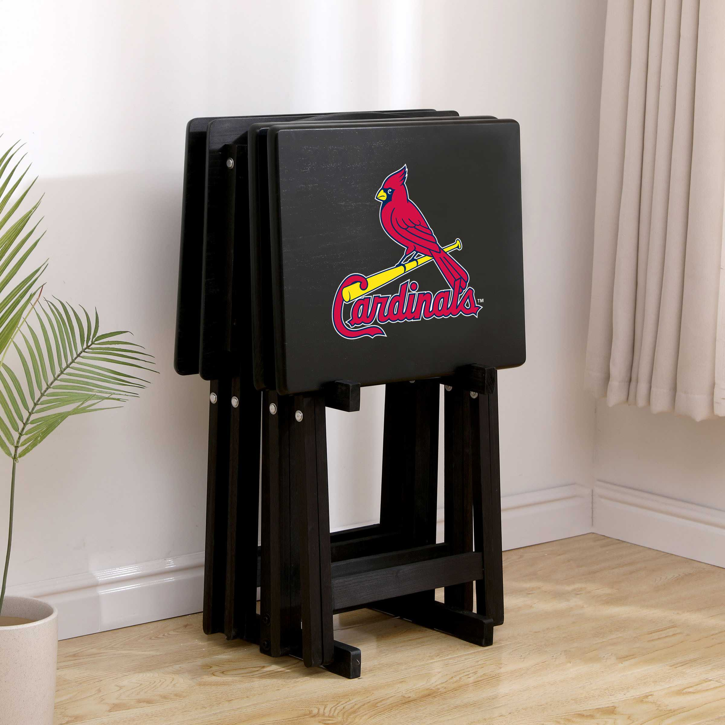 ST LOUIS CARDINALS 4 TV TRAYS WITH STAND