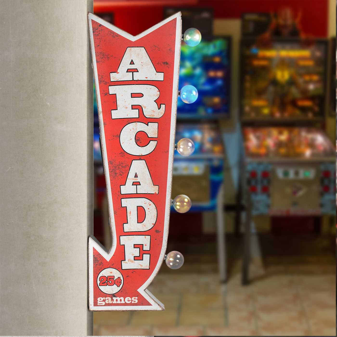 Vintage Two Sided Led Sign - Arcade Games